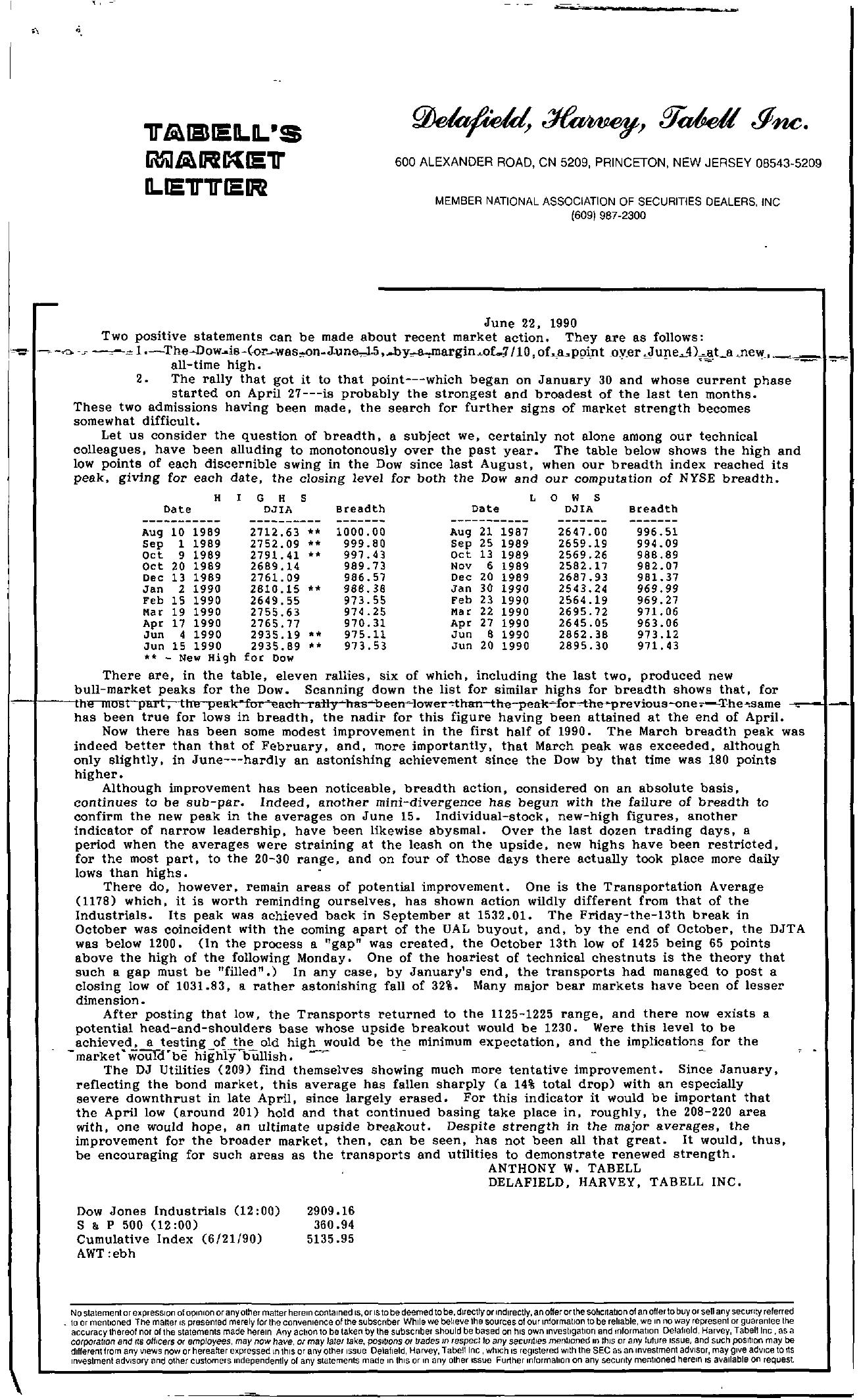 Tabell's Market Letter - June 22, 1990