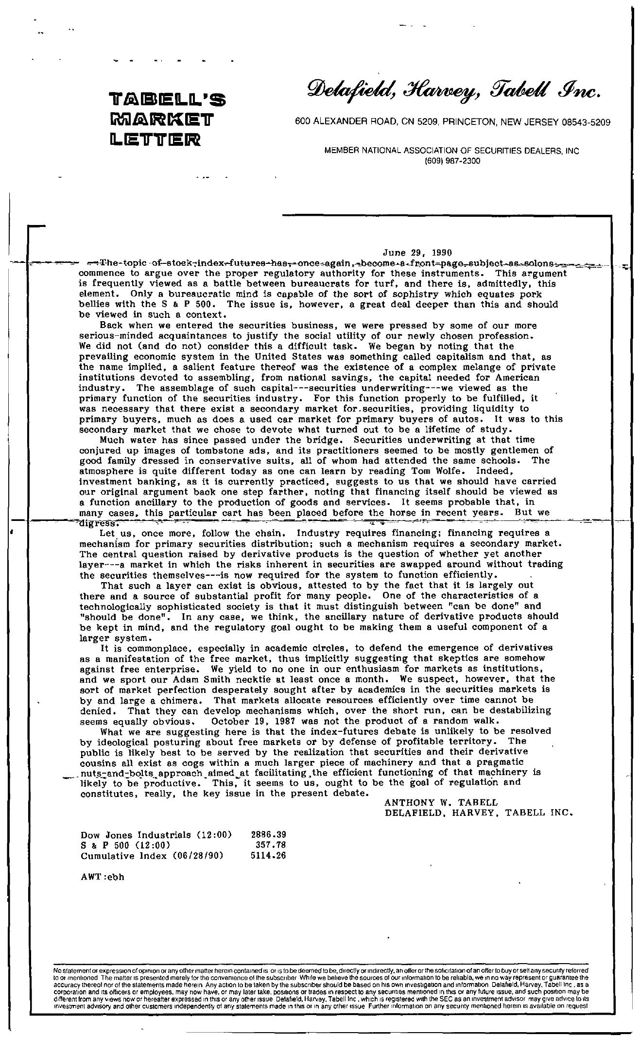Tabell's Market Letter - June 29, 1990