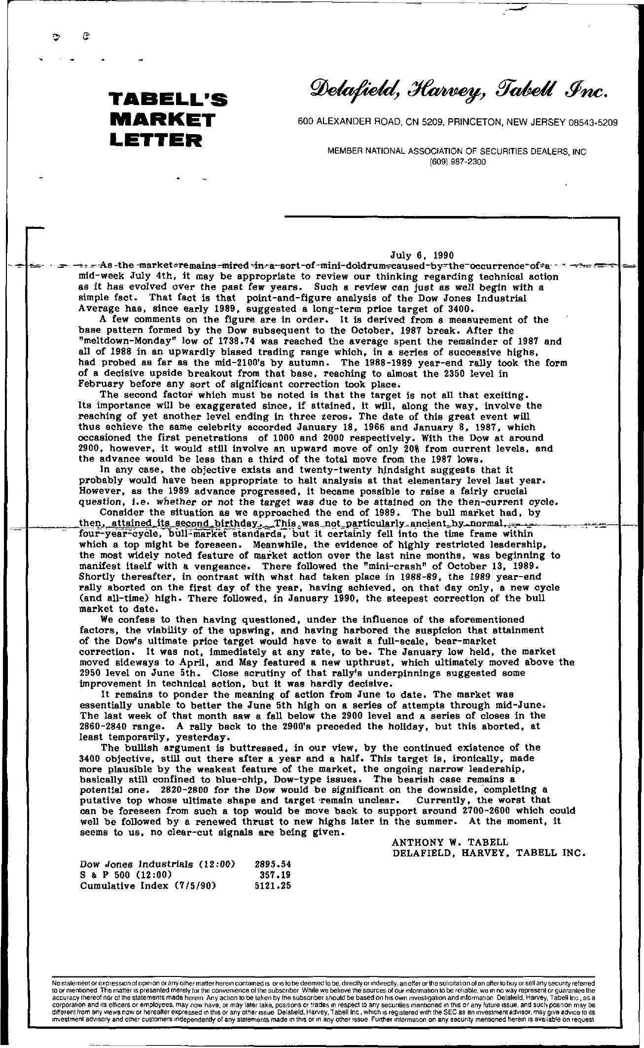 Tabell's Market Letter - July 06, 1990