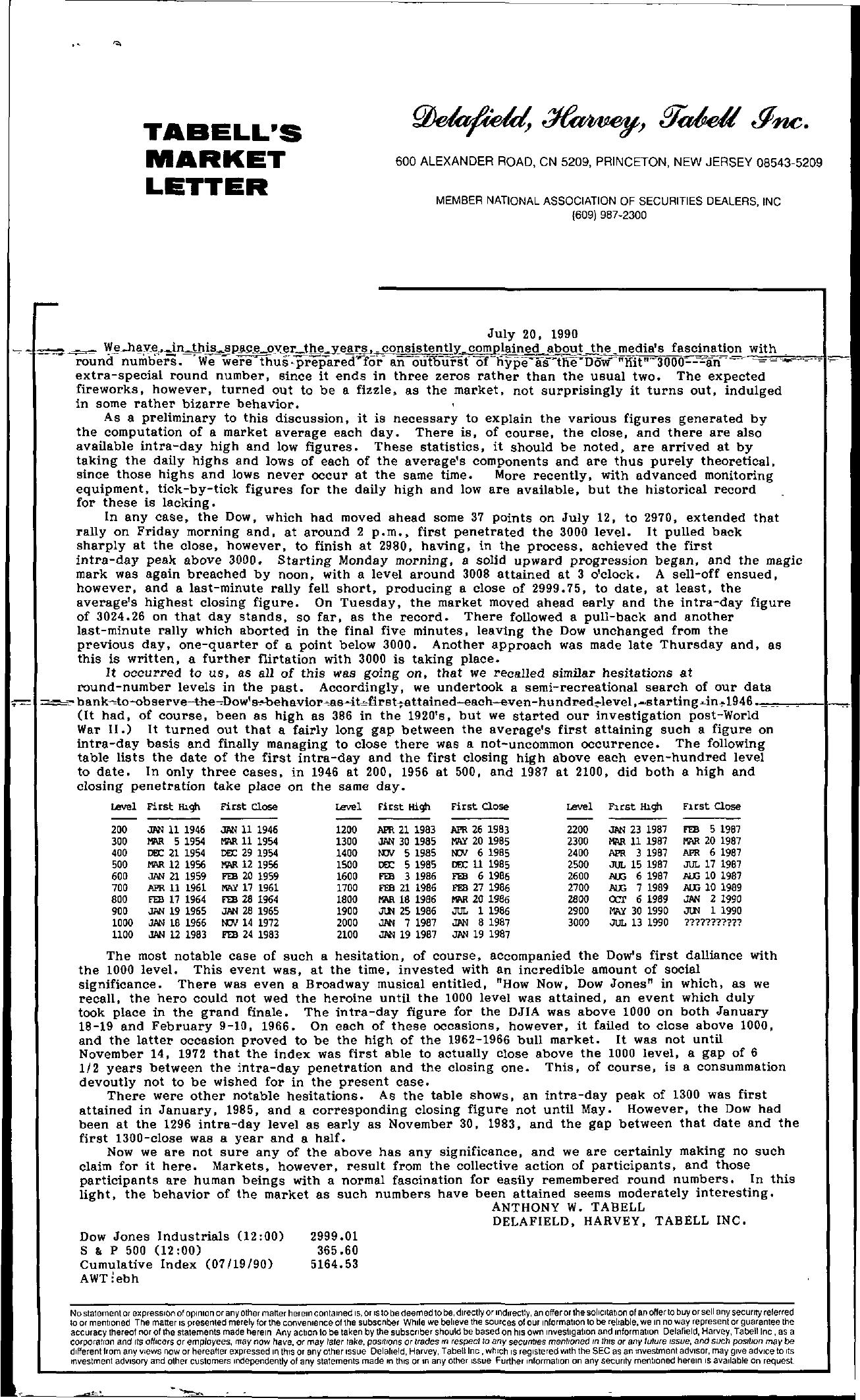 Tabell's Market Letter - July 20, 1990