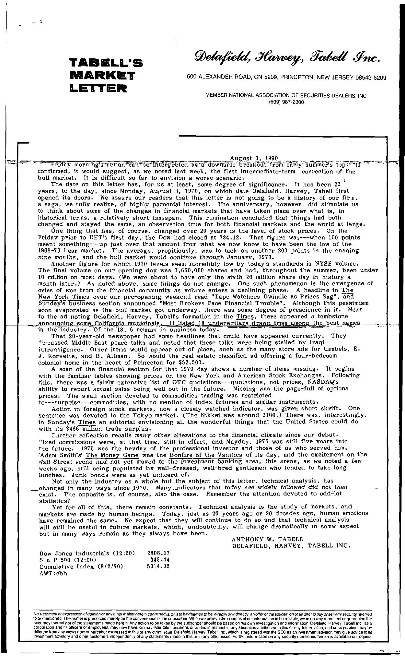 Tabell's Market Letter - August 03, 1990
