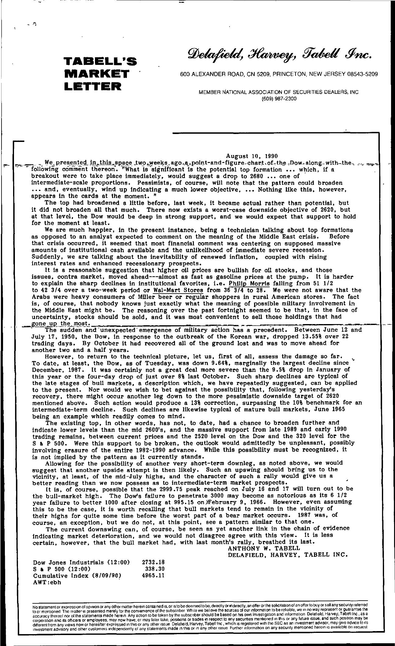 Tabell's Market Letter - August 10, 1990