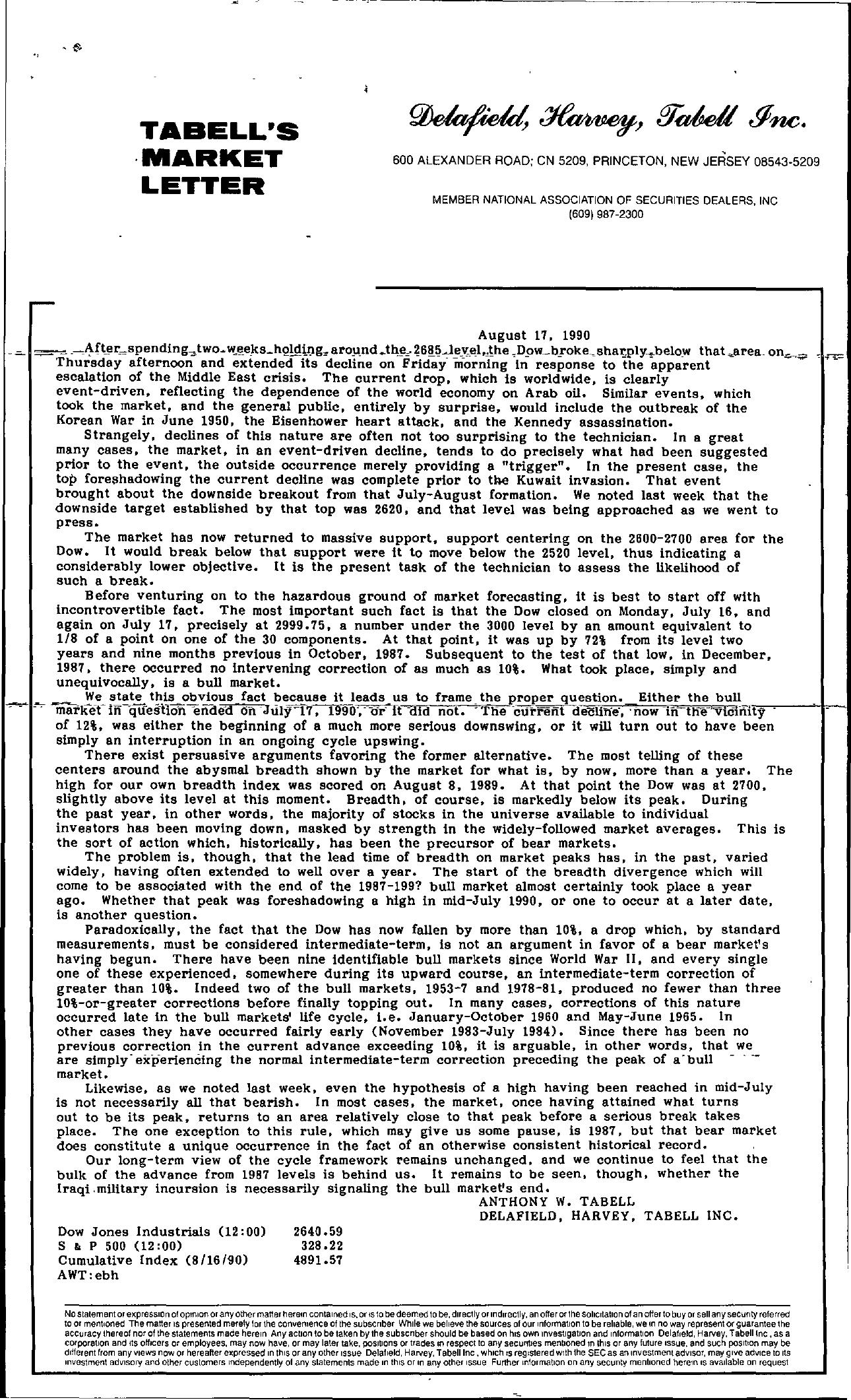 Tabell's Market Letter - August 17, 1990