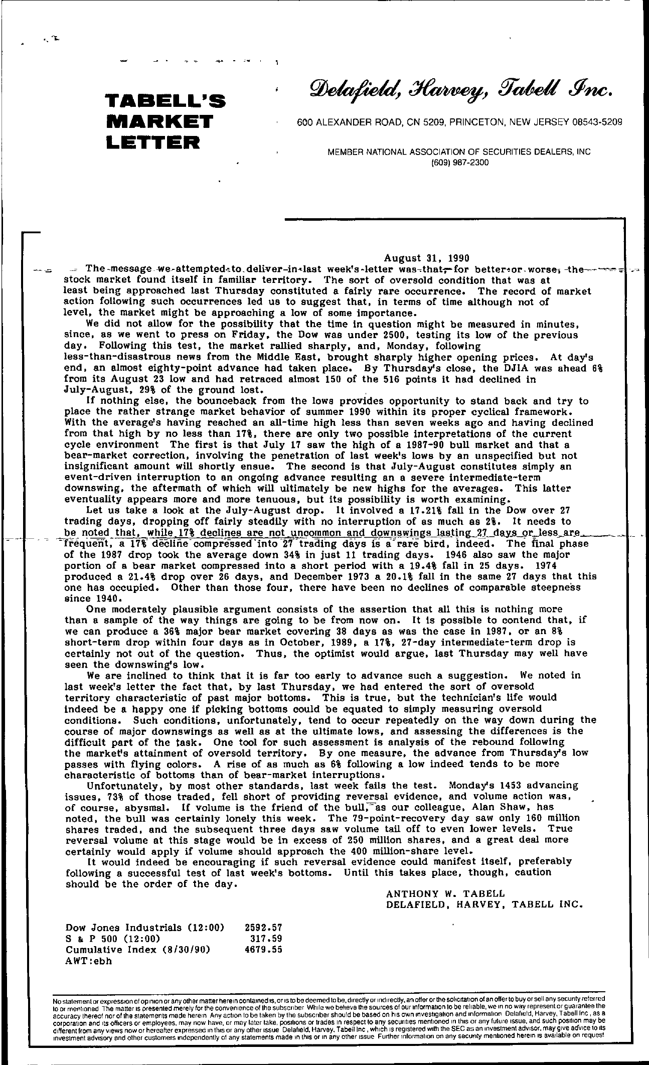 Tabell's Market Letter - August 31, 1990