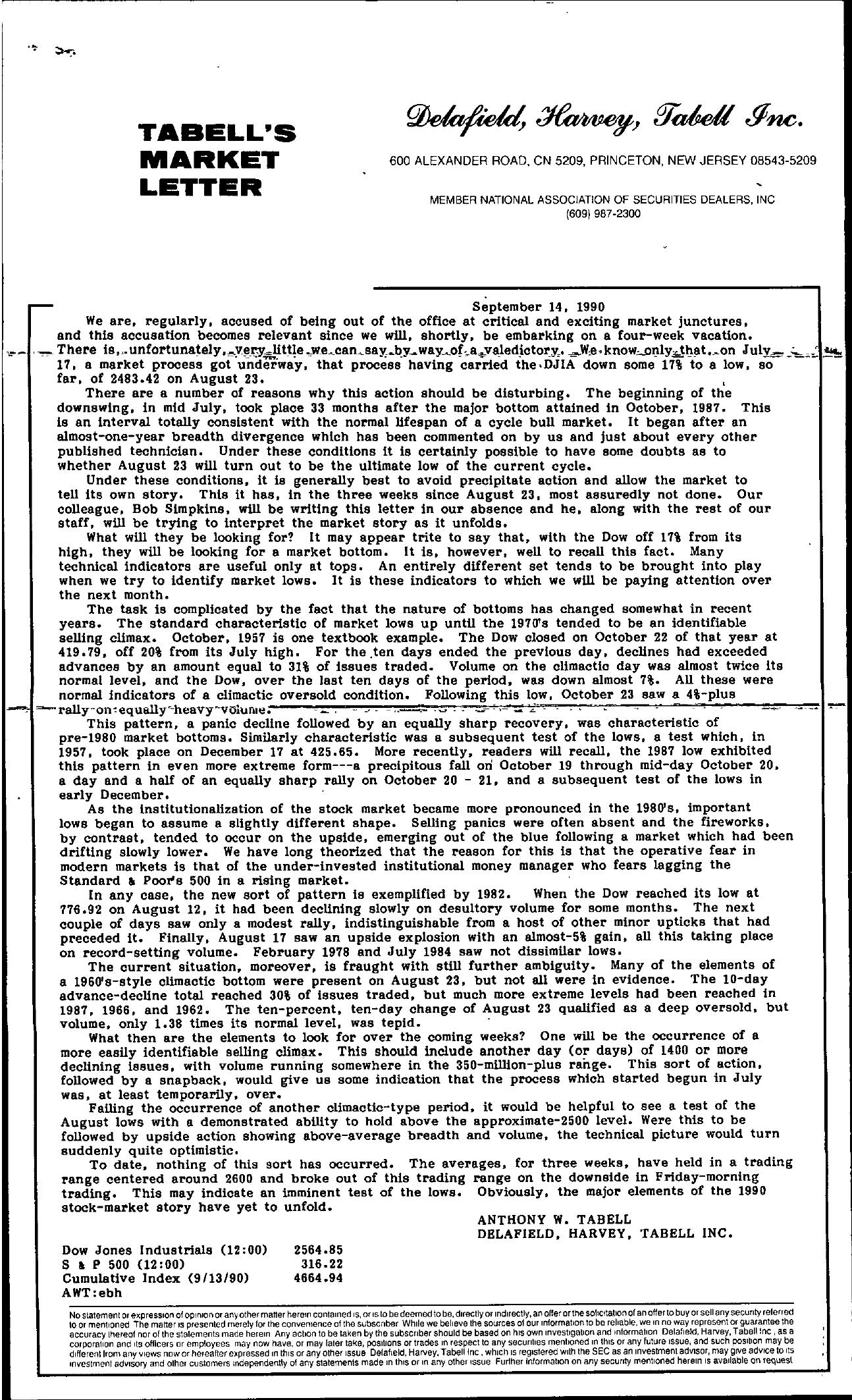 Tabell's Market Letter - September 14, 1990