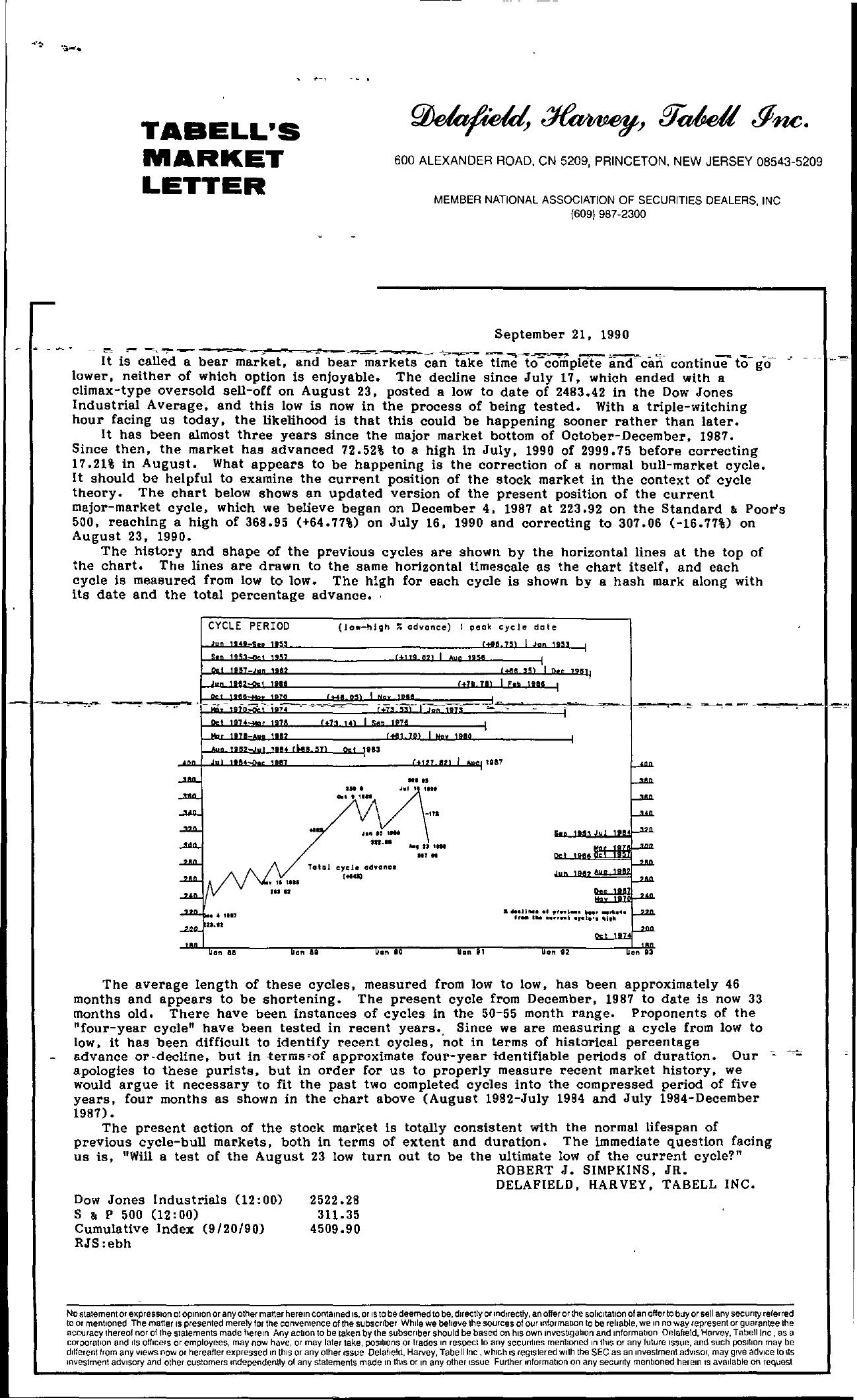 Tabell's Market Letter - September 21, 1990