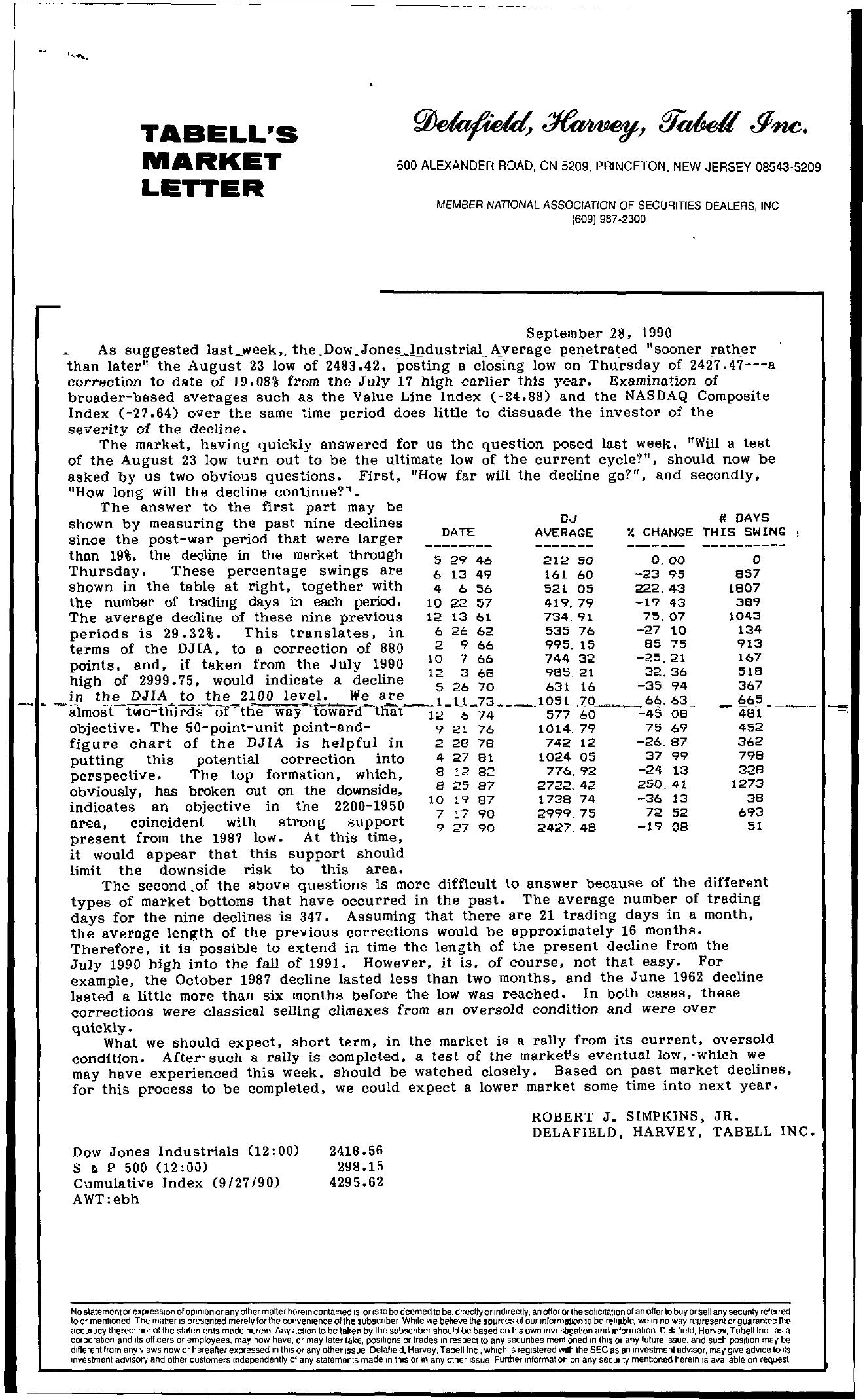 Tabell's Market Letter - September 28, 1990
