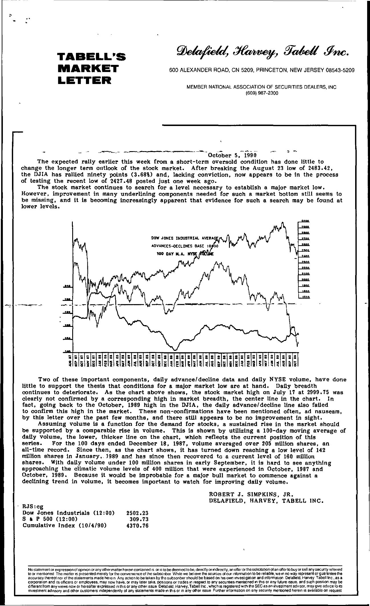 Tabell's Market Letter - October 05, 1990
