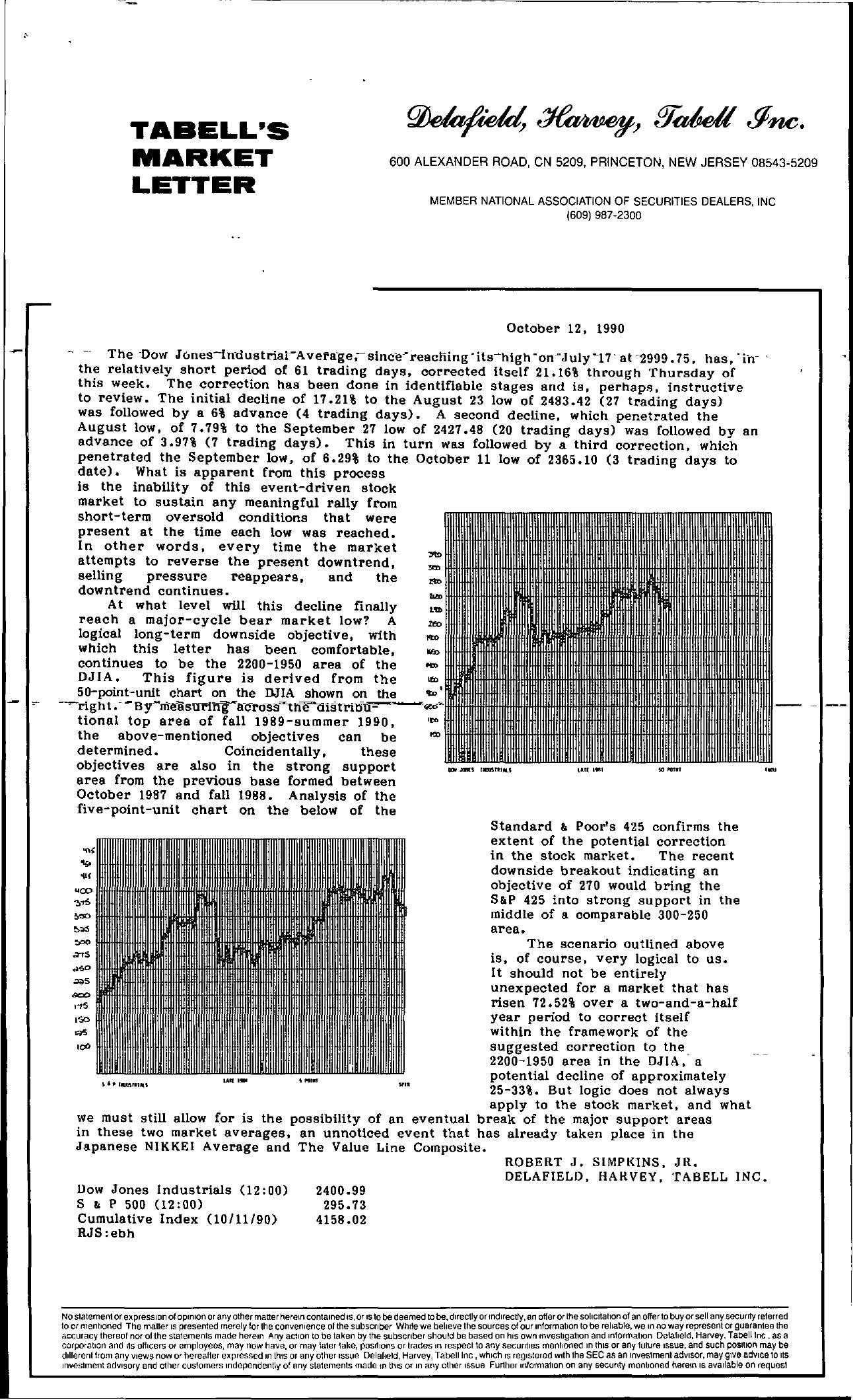Tabell's Market Letter - October 12, 1990