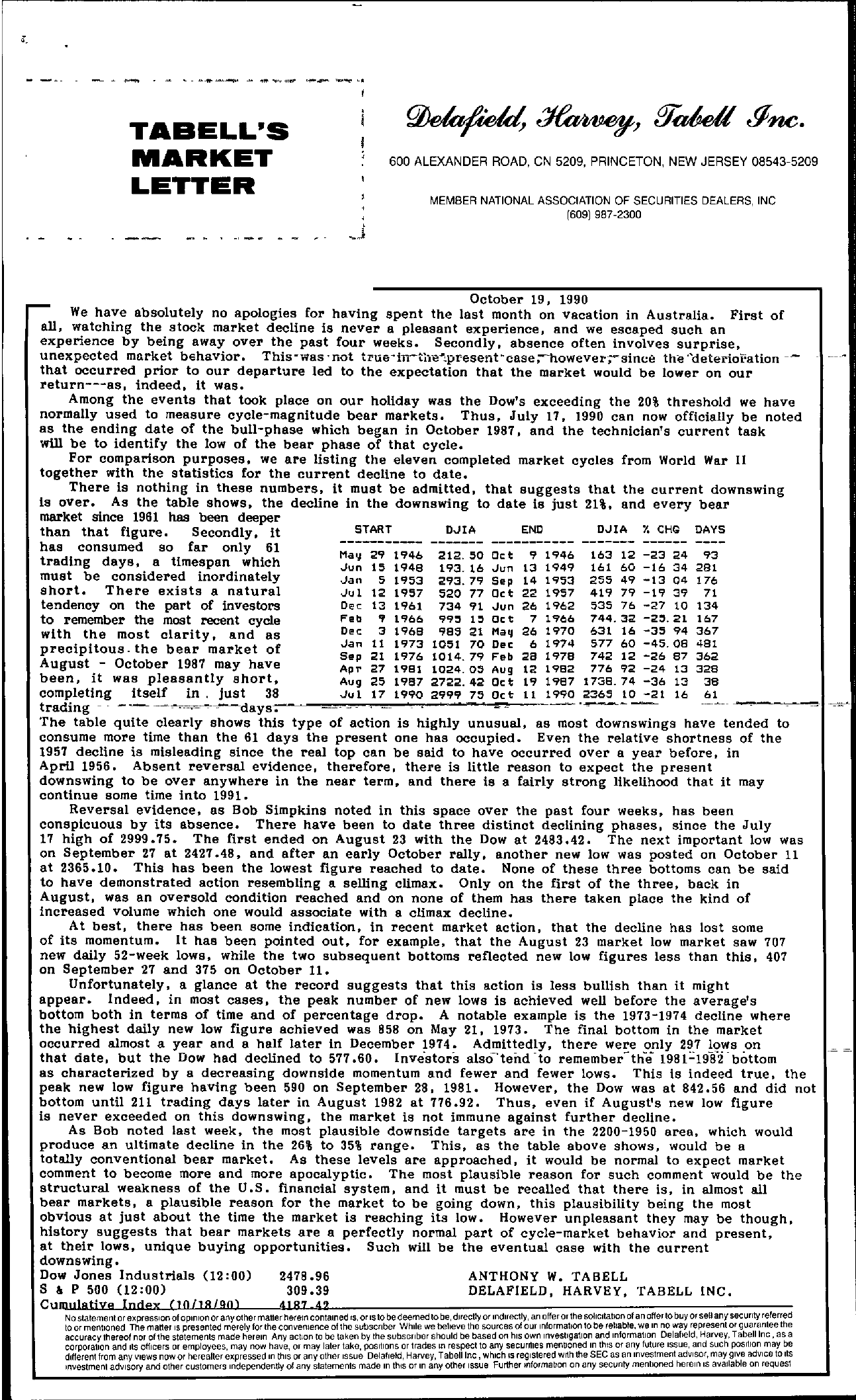 Tabell's Market Letter - October 19, 1990