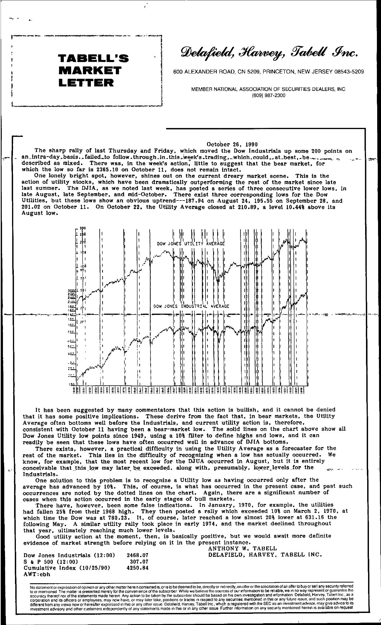 Tabell's Market Letter - October 26, 1990