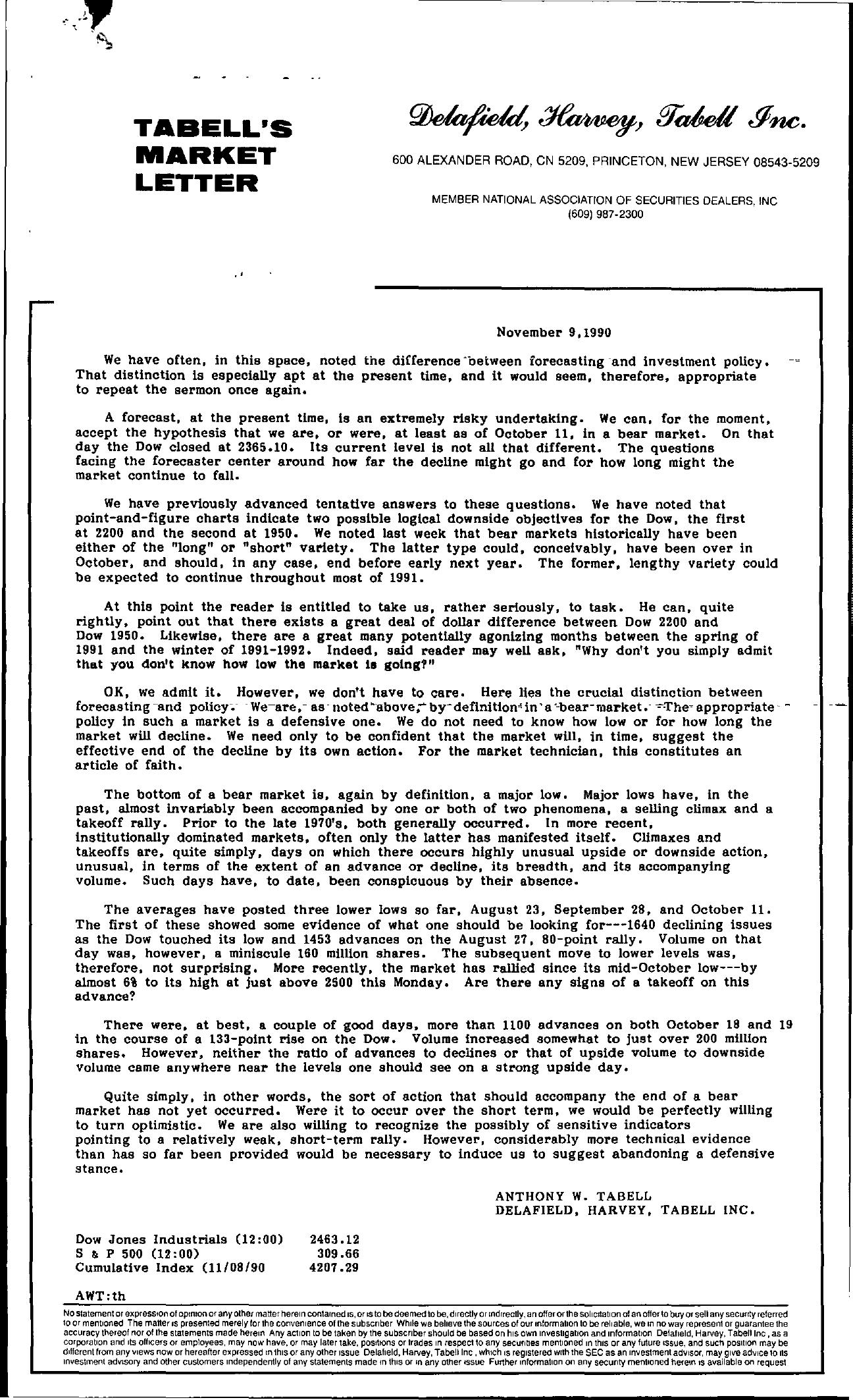 Tabell's Market Letter - November 09, 1990