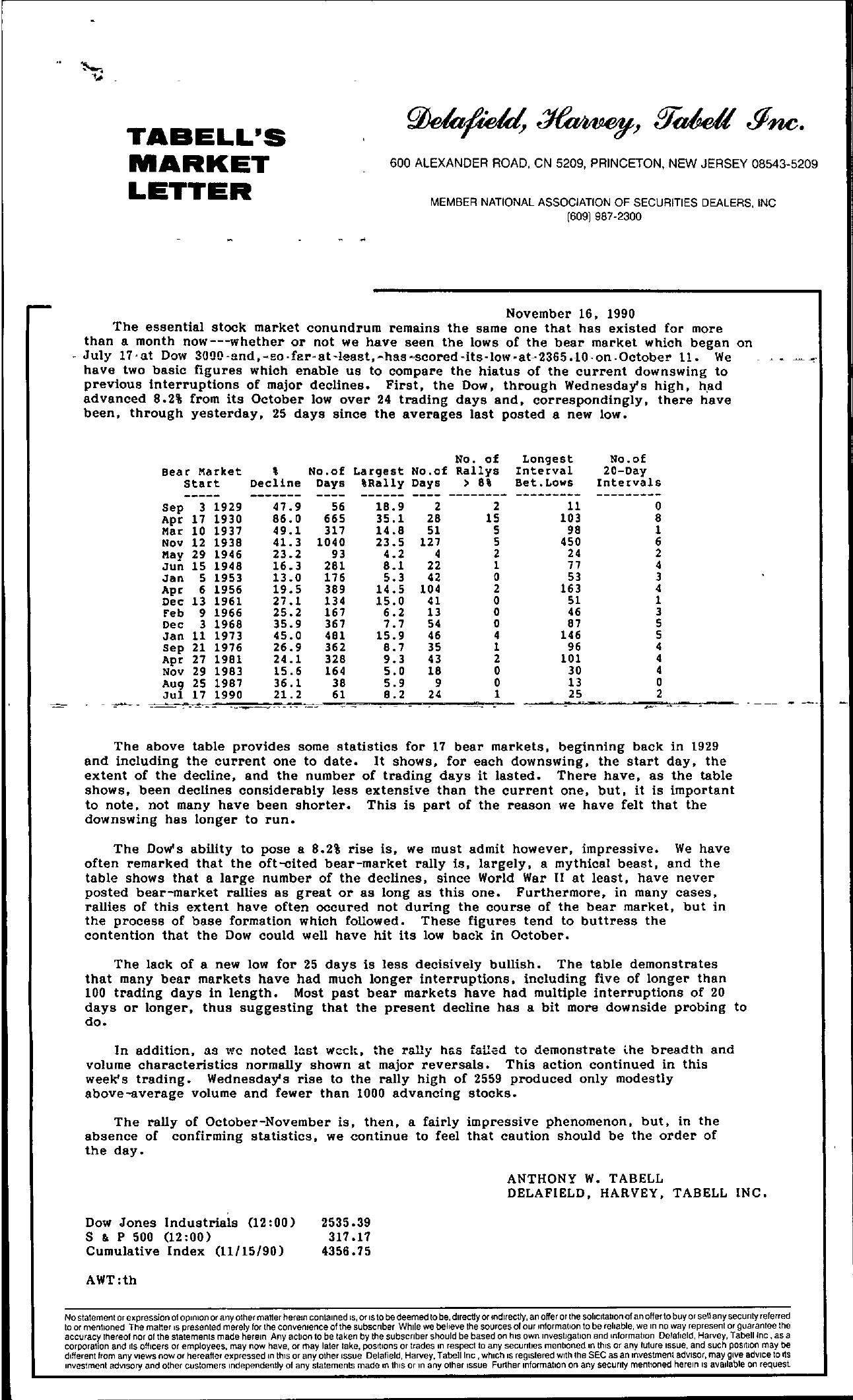 Tabell's Market Letter - November 16, 1990