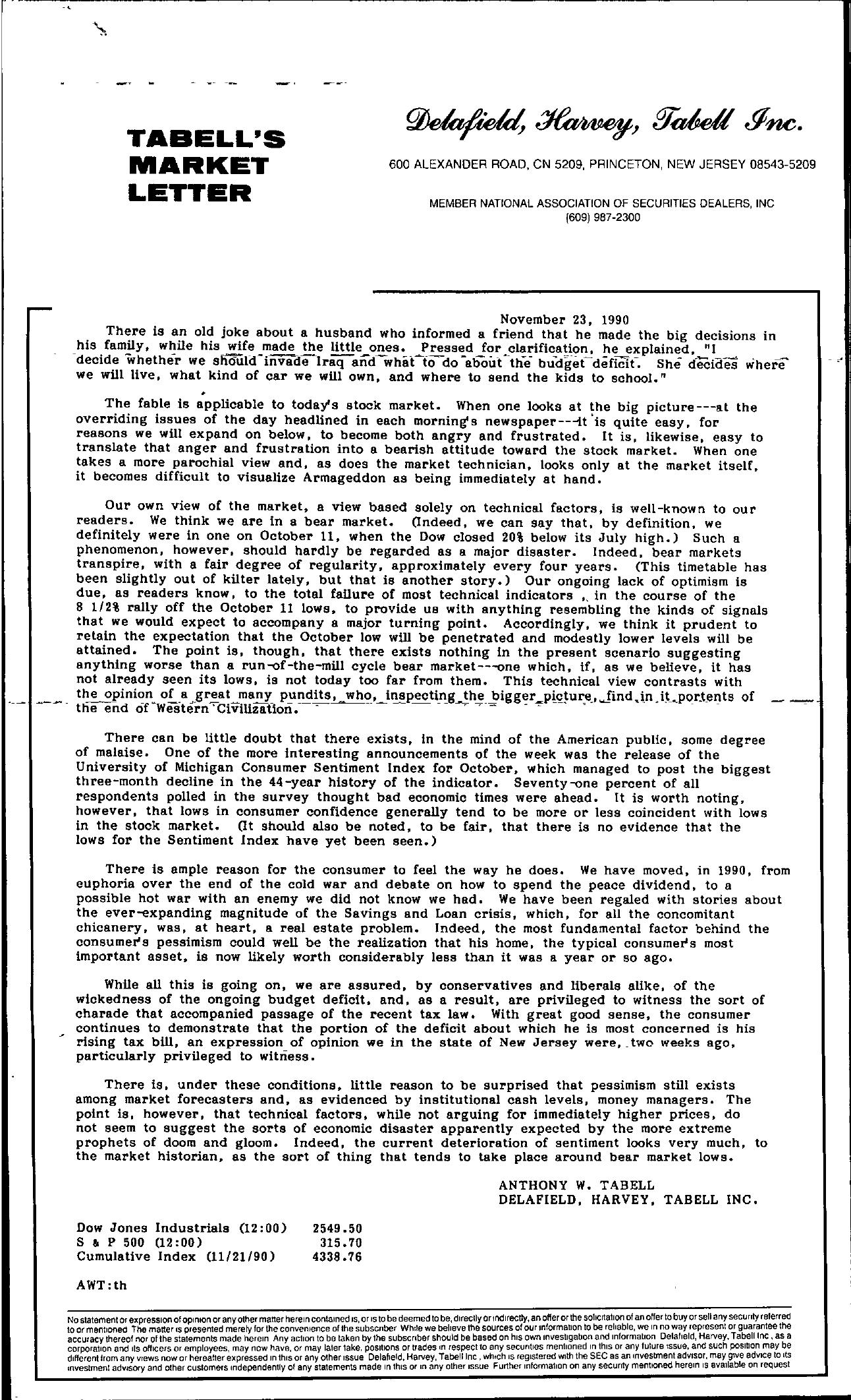 Tabell's Market Letter - November 23, 1990