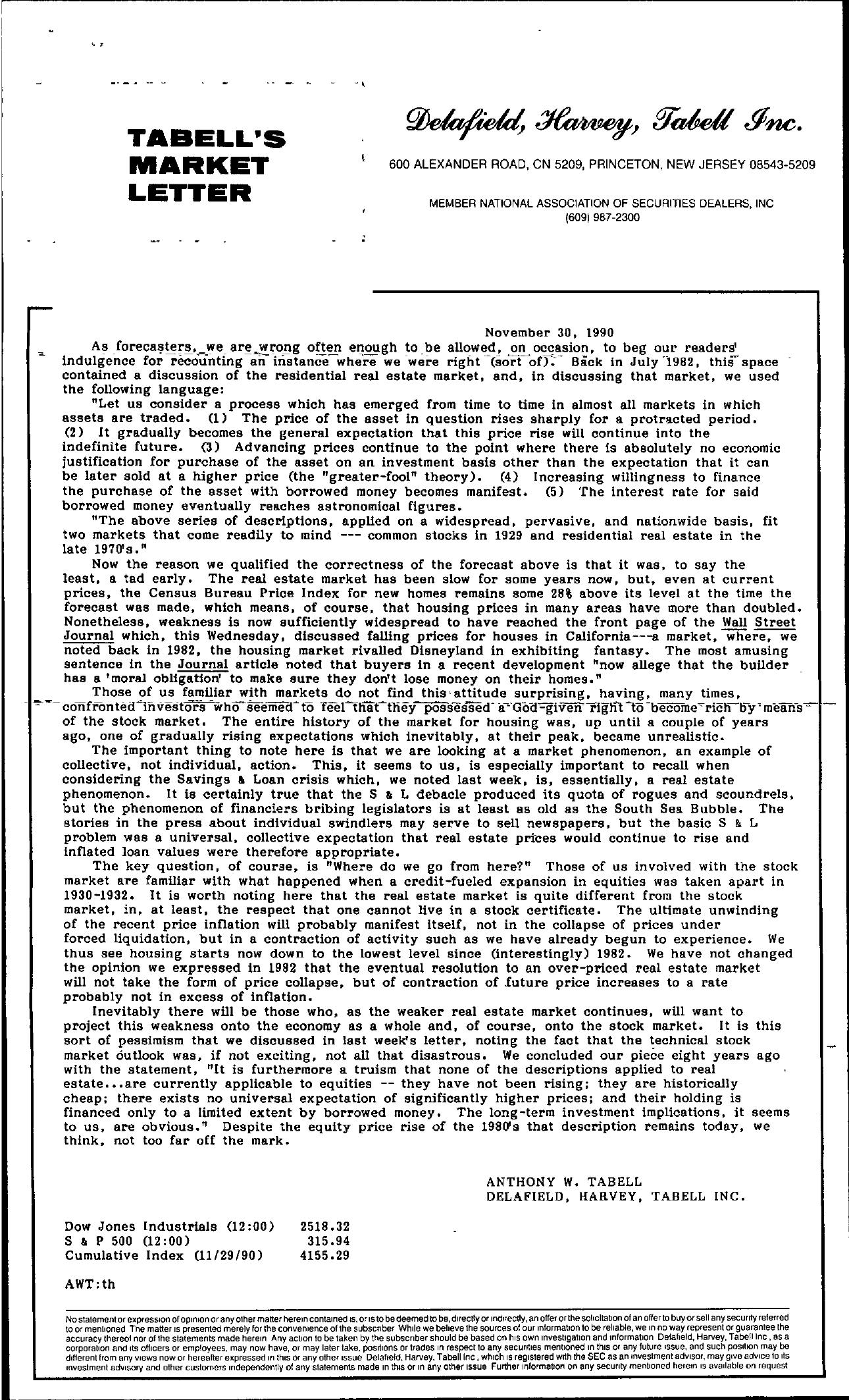 Tabell's Market Letter - November 30, 1990