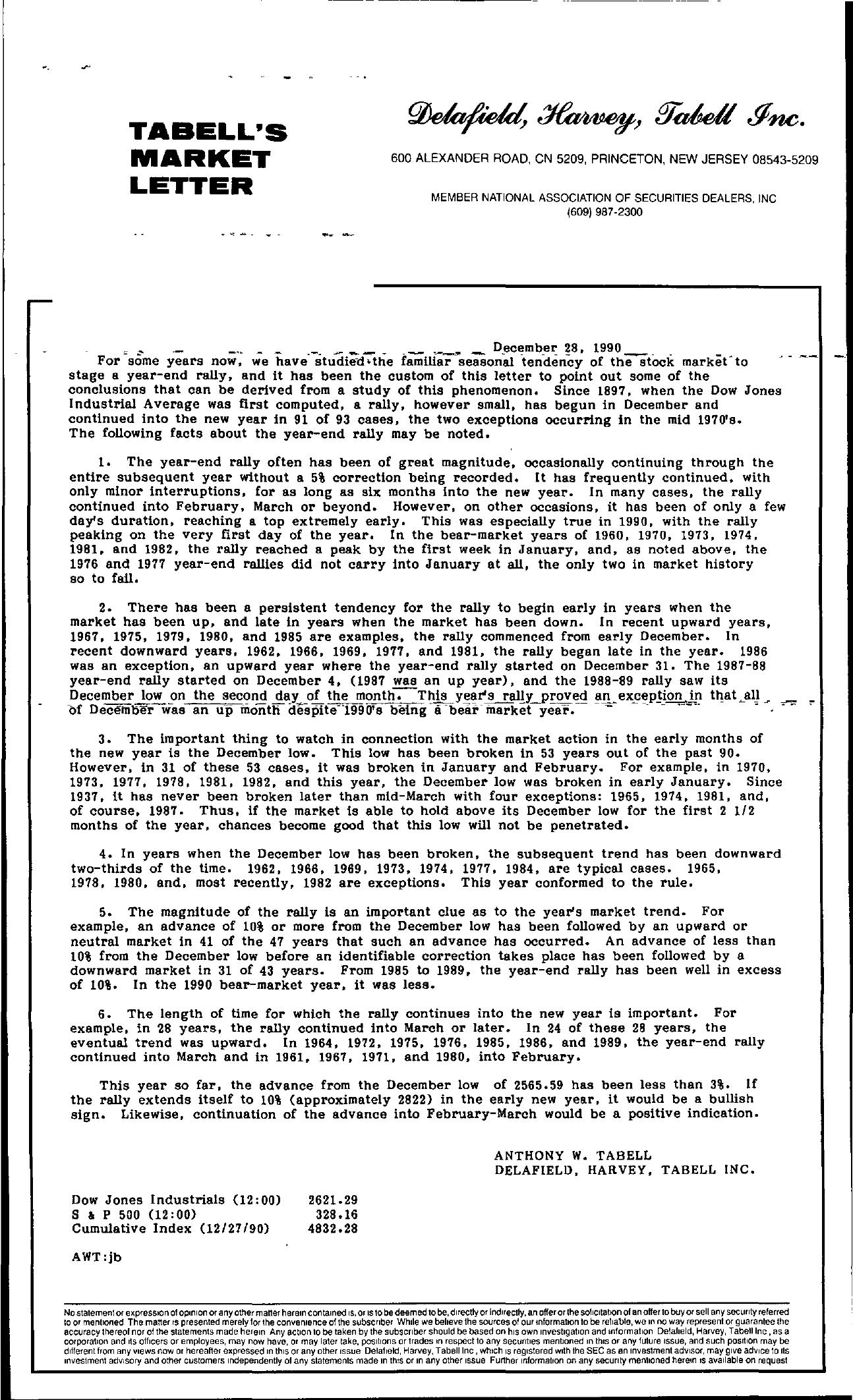 Tabell's Market Letter - December 28, 1990