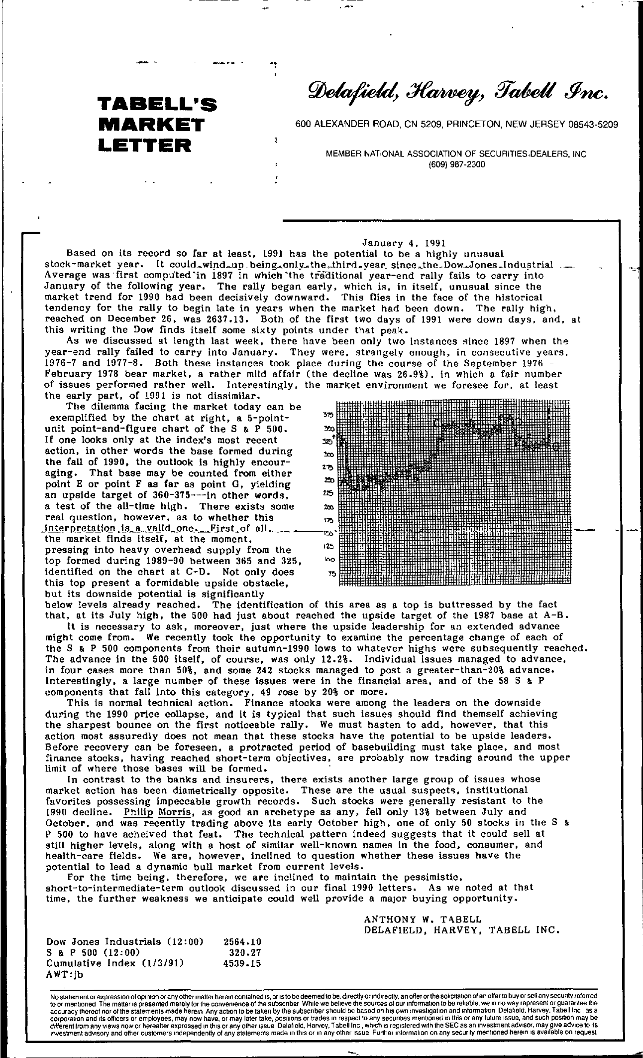 Tabell's Market Letter - January 04, 1991