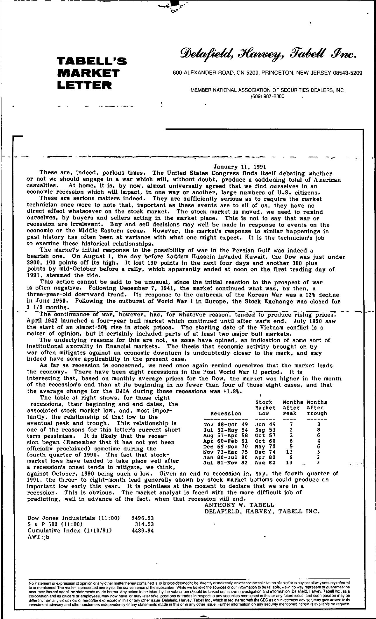 Tabell's Market Letter - January 11, 1991