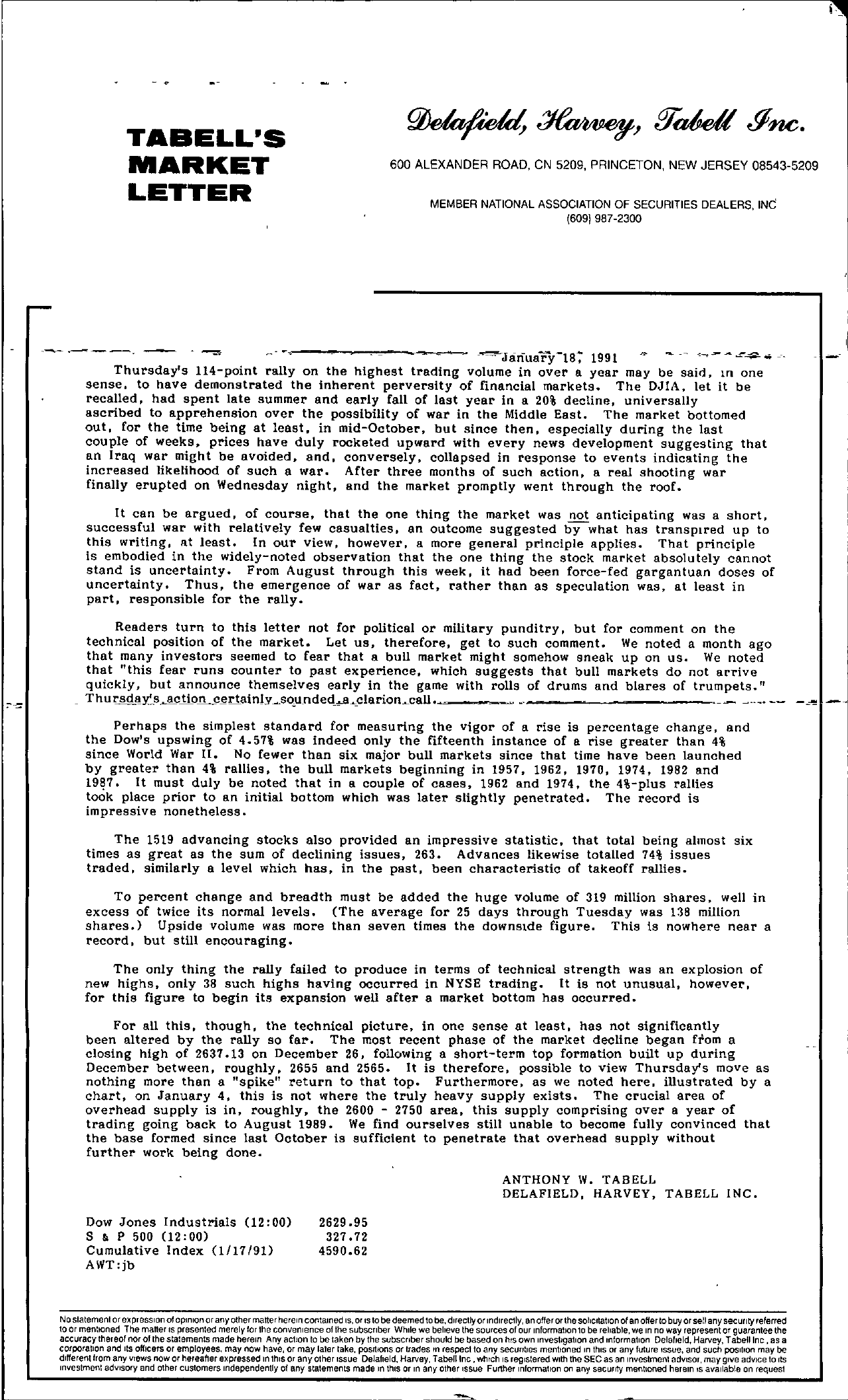 Tabell's Market Letter - January 18, 1991
