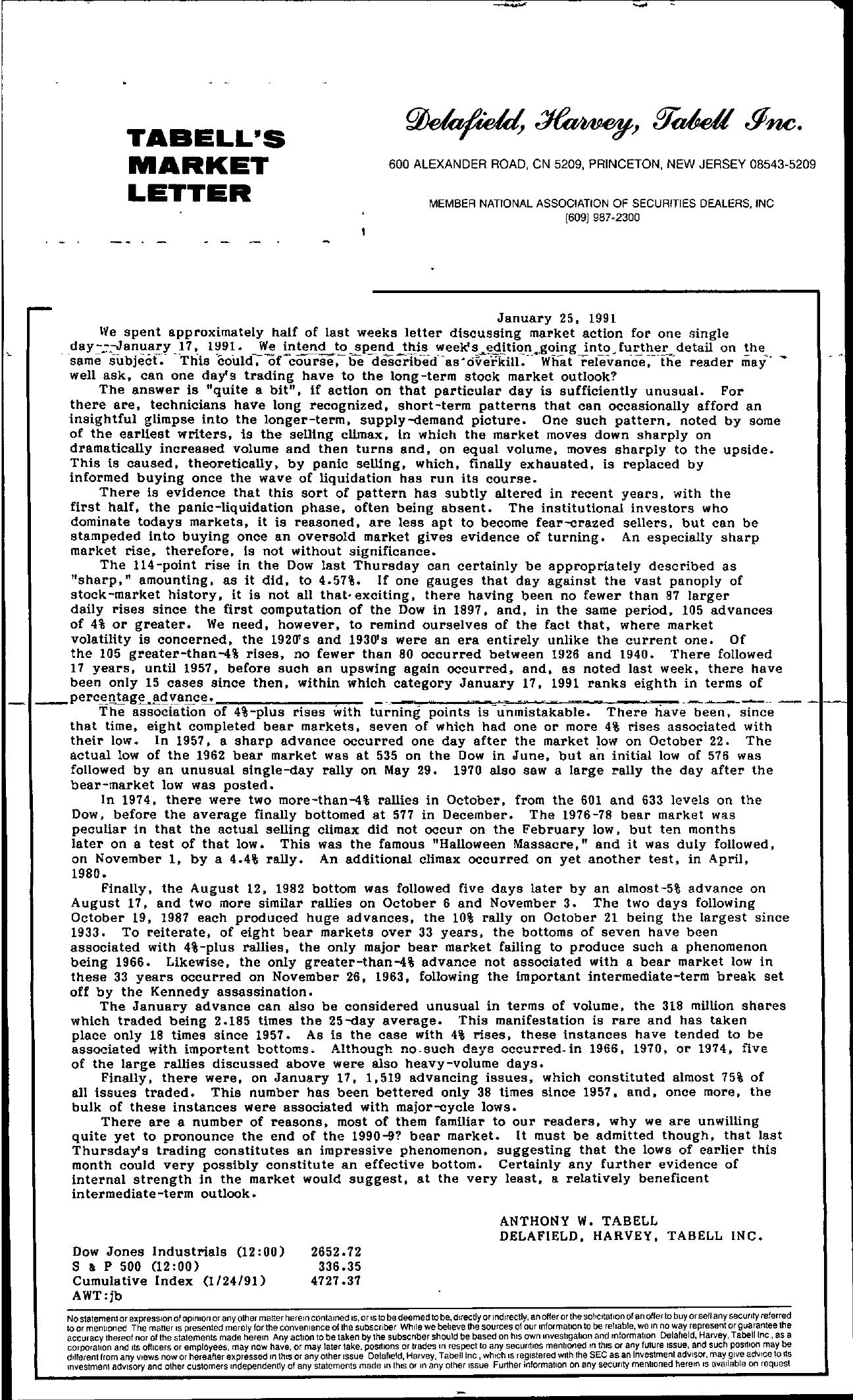 Tabell's Market Letter - January 25, 1991