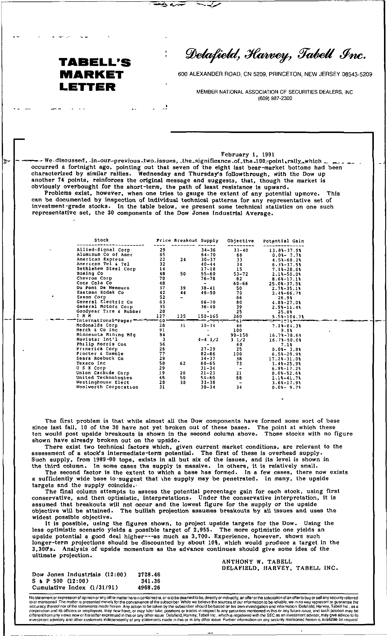 Tabell's Market Letter - February 01, 1991