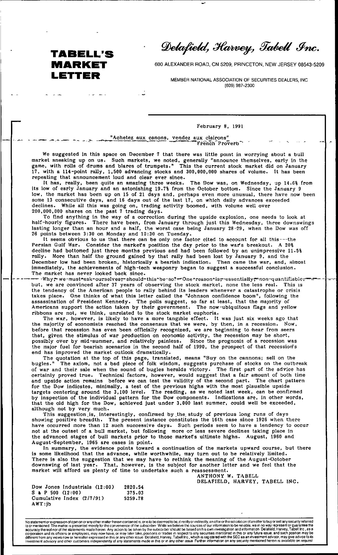 Tabell's Market Letter - February 08, 1991