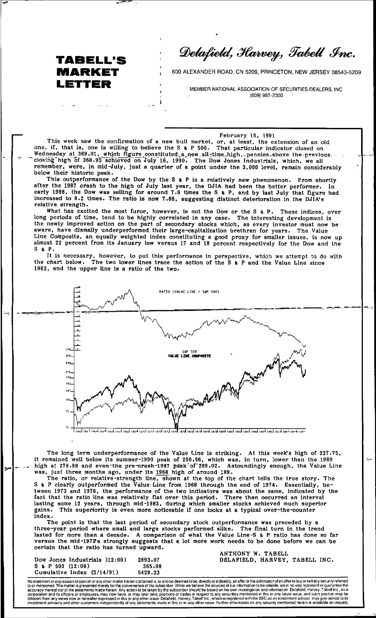 Tabell's Market Letter - February 15, 1991