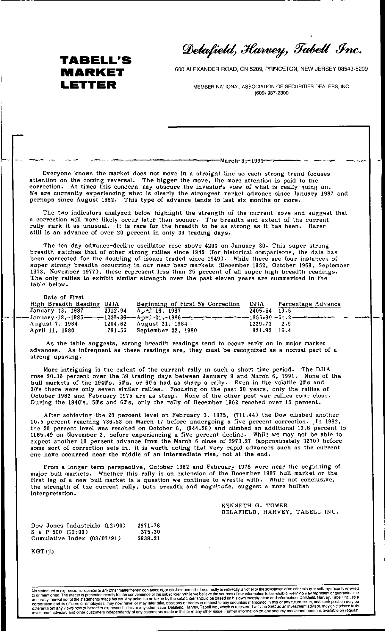 Tabell's Market Letter - March 08, 1991