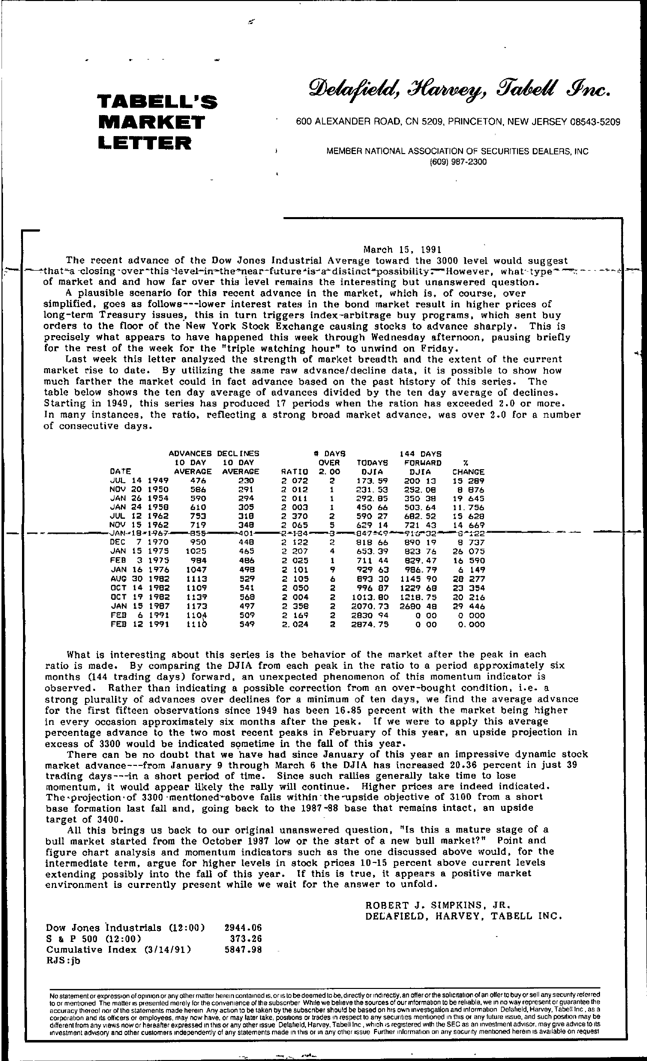 Tabell's Market Letter - March 15, 1991