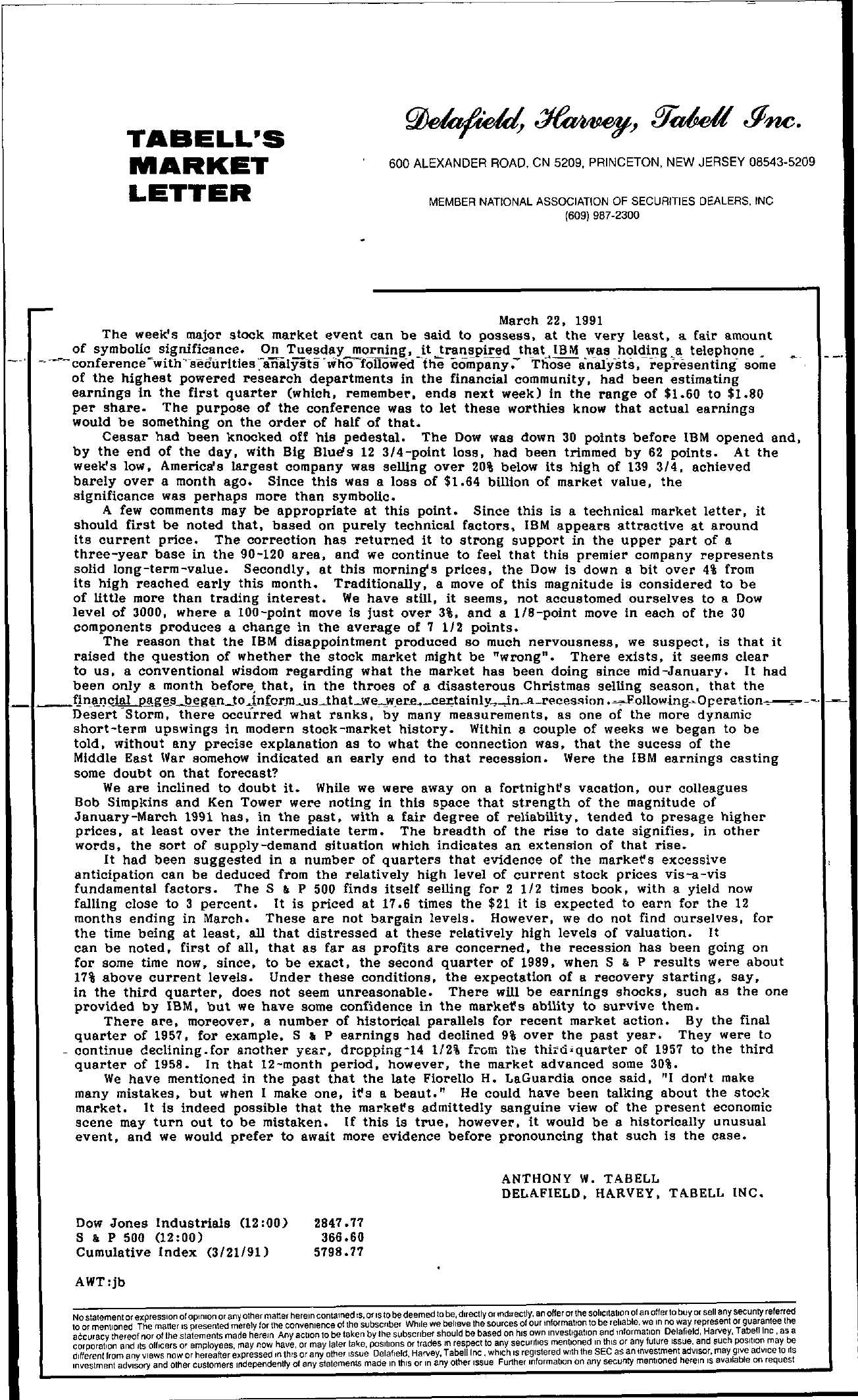 Tabell's Market Letter - March 22, 1991