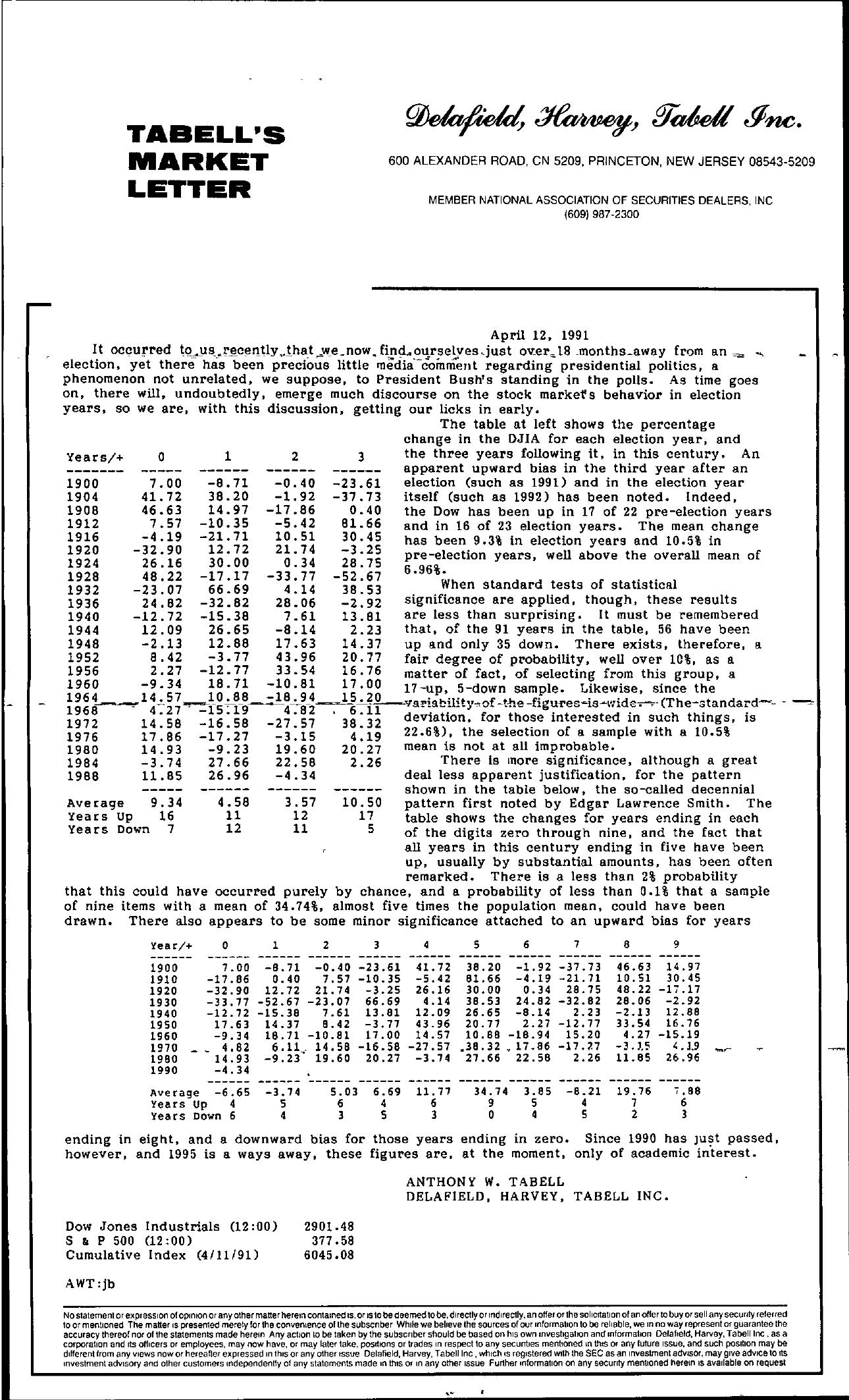 Tabell's Market Letter - April 12, 1991