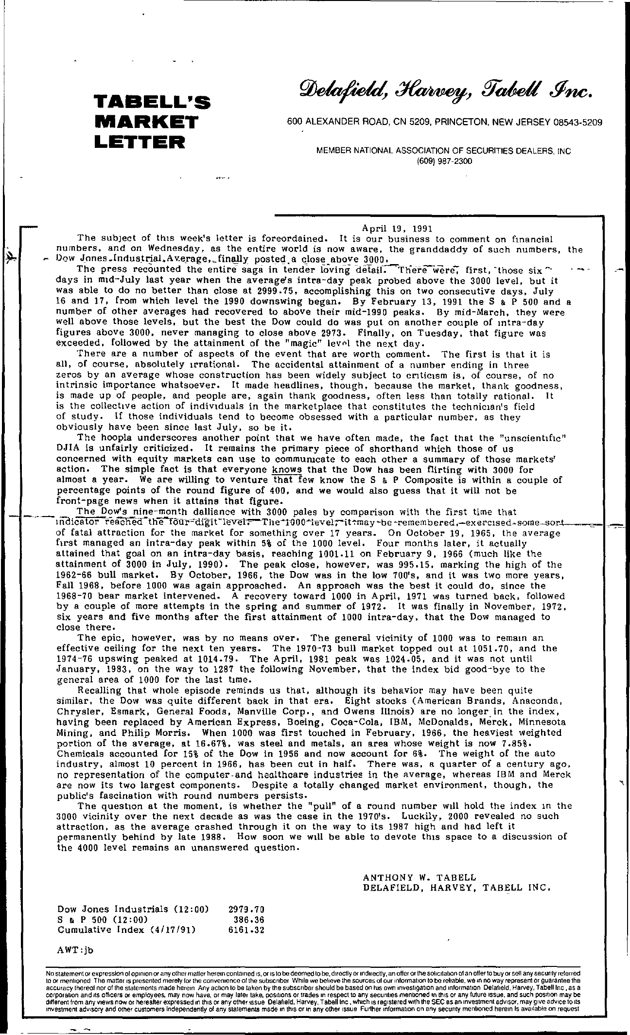 Tabell's Market Letter - April 19, 1991