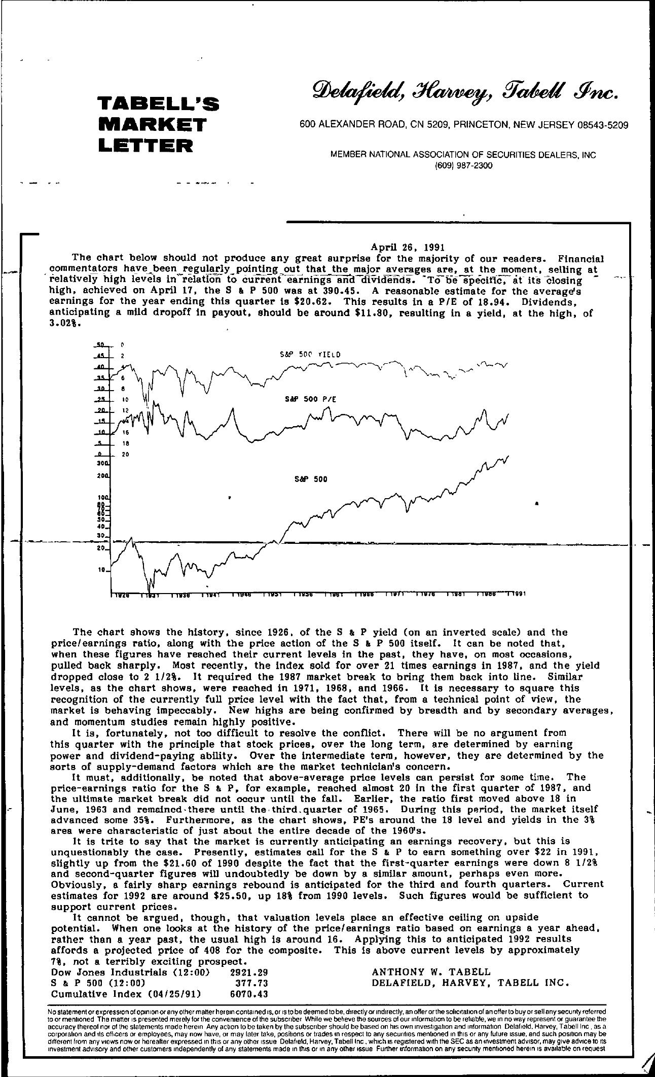 Tabell's Market Letter - April 26, 1991