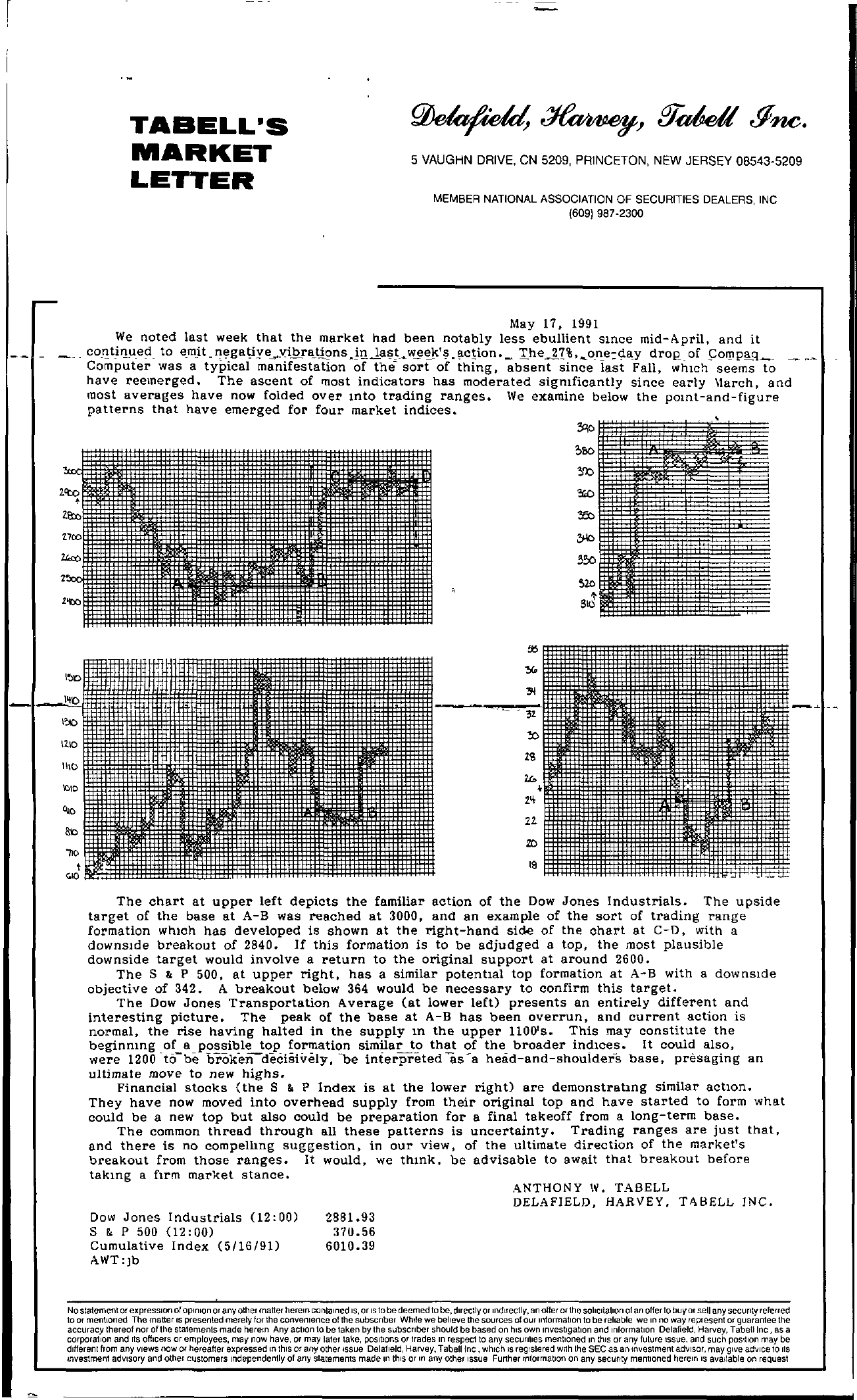 Tabell's Market Letter - May 17, 1991