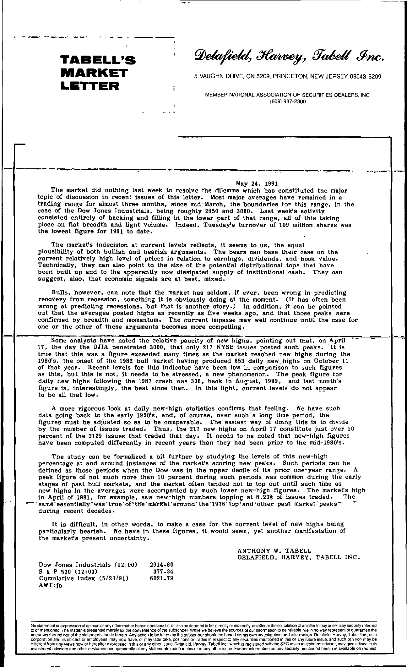 Tabell's Market Letter - May 24, 1991