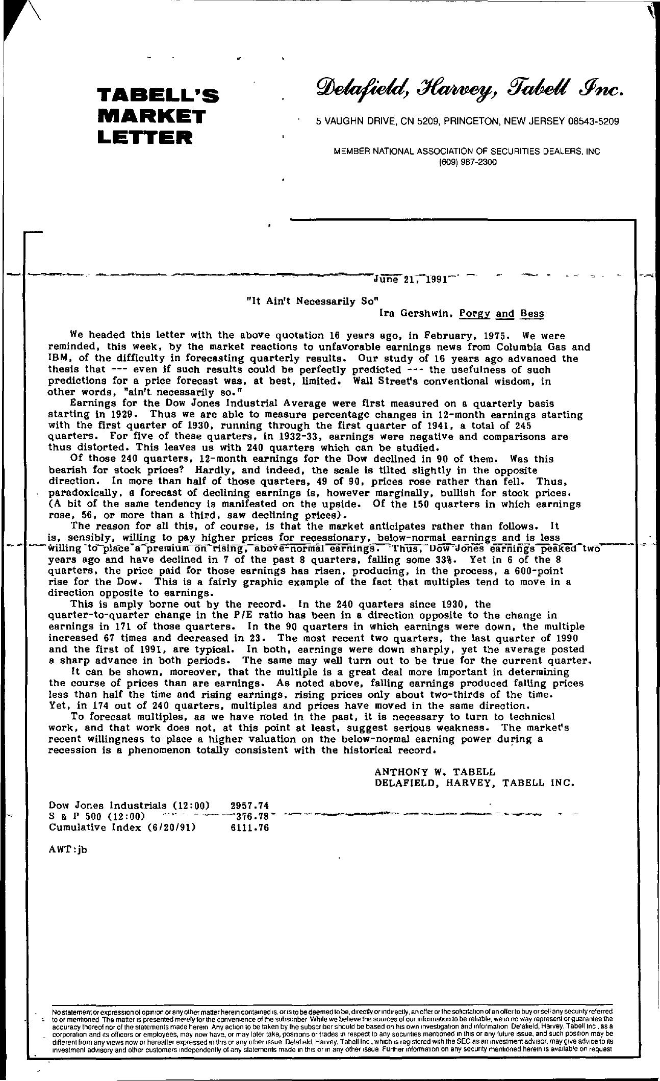 Tabell's Market Letter - June 21, 1991