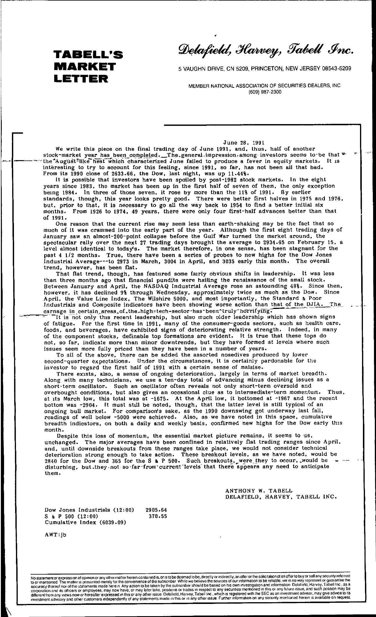 Tabell's Market Letter - June 28, 1991