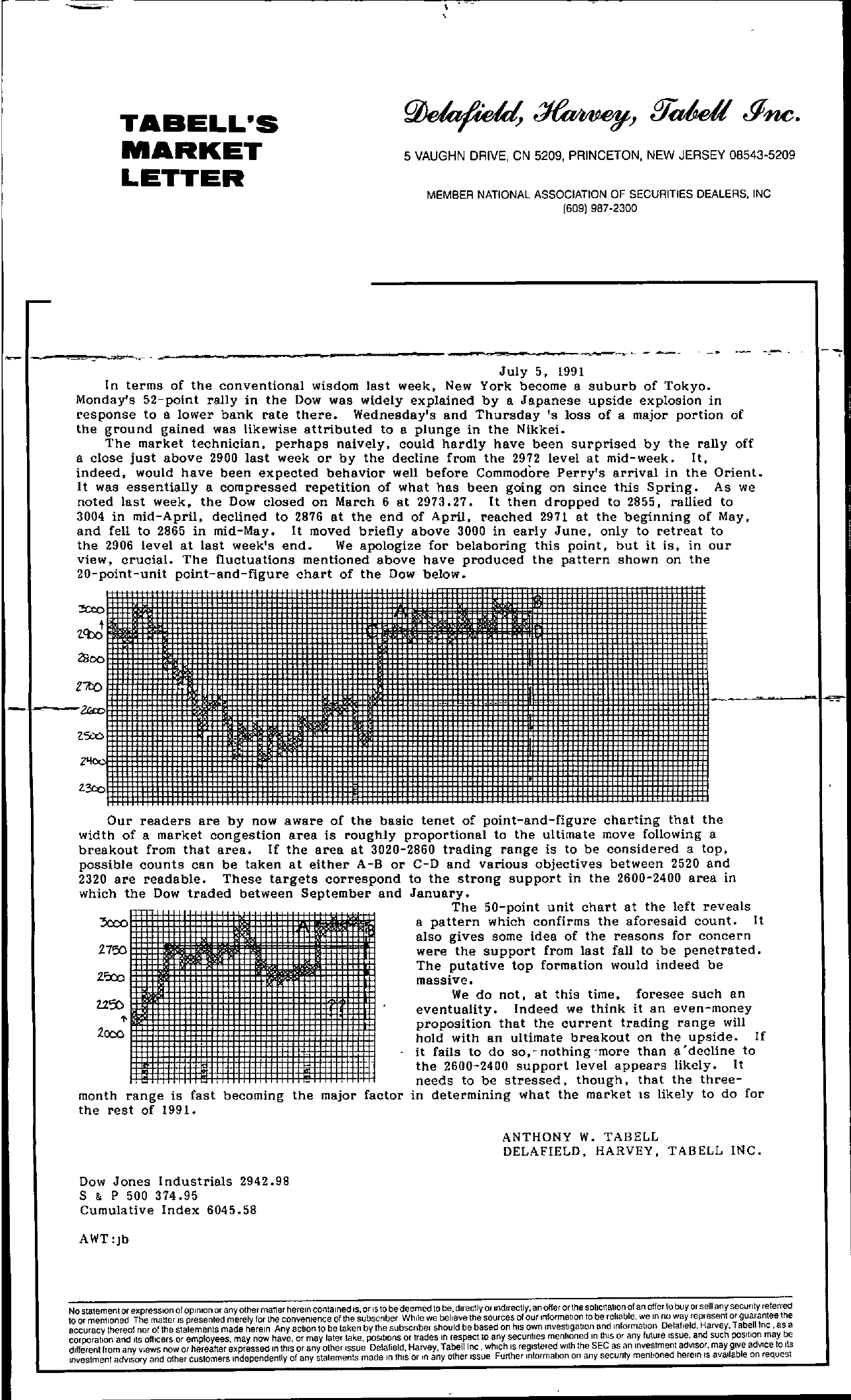 Tabell's Market Letter - July 05, 1991