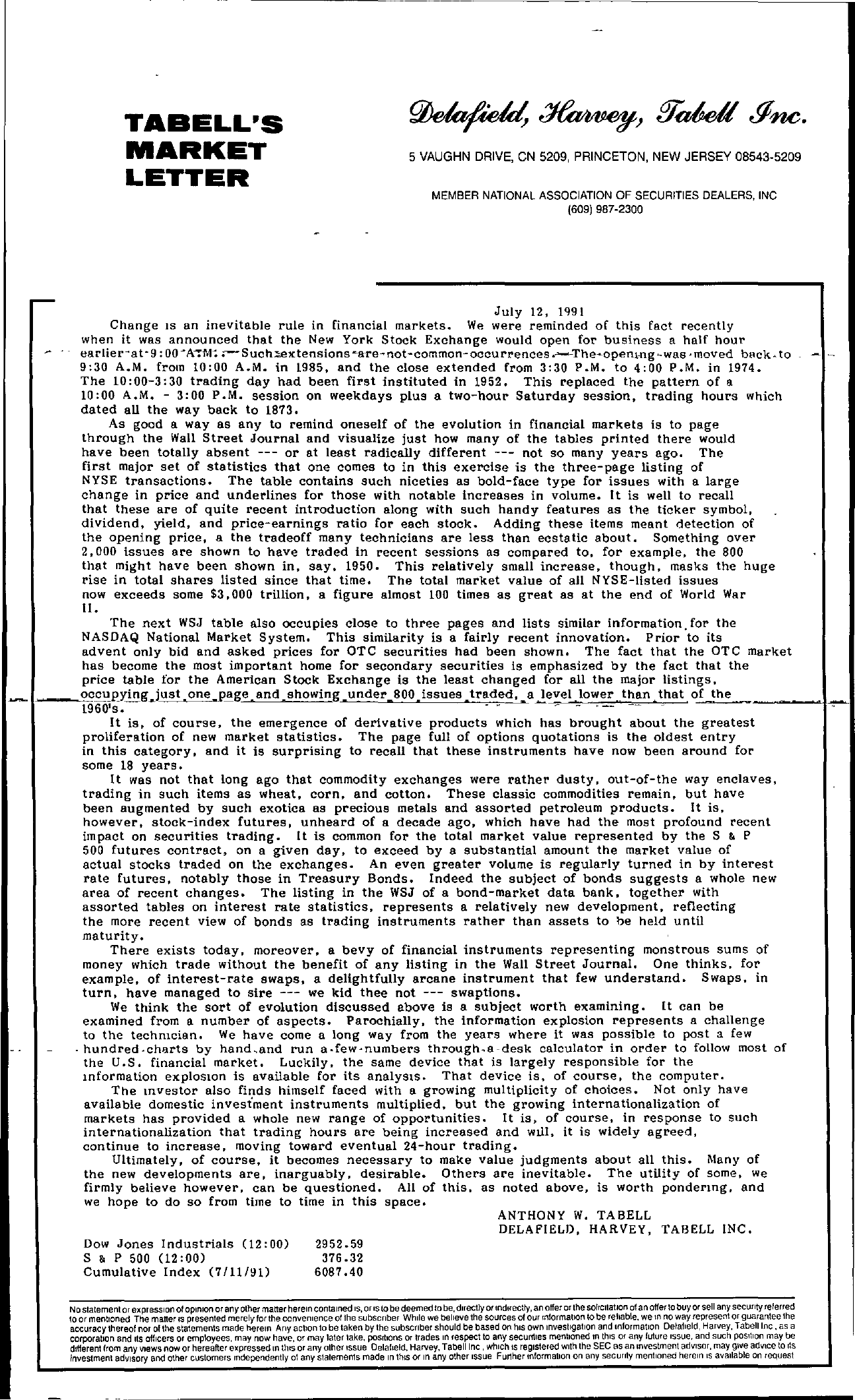 Tabell's Market Letter - July 12, 1991