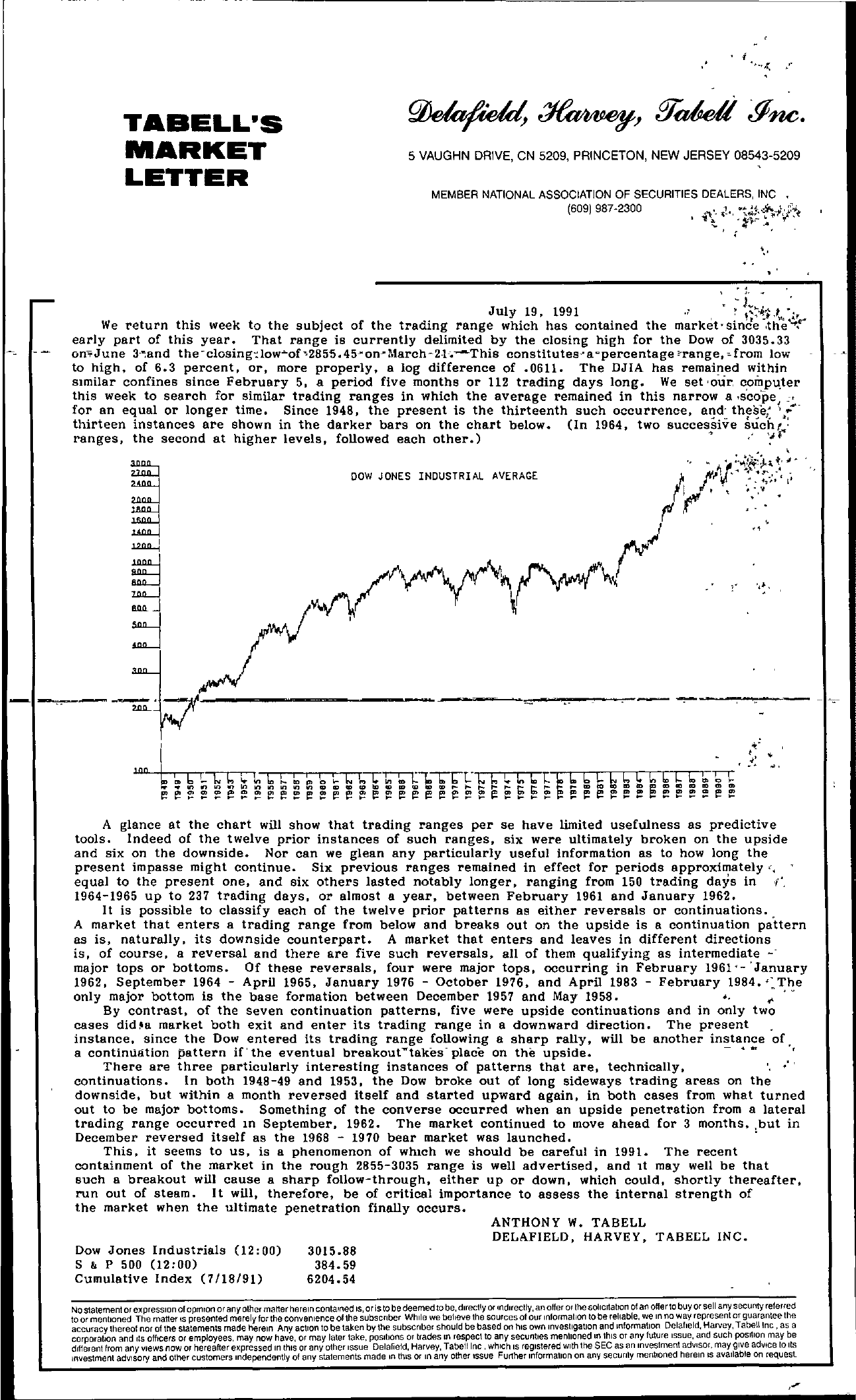 Tabell's Market Letter - July 19, 1991