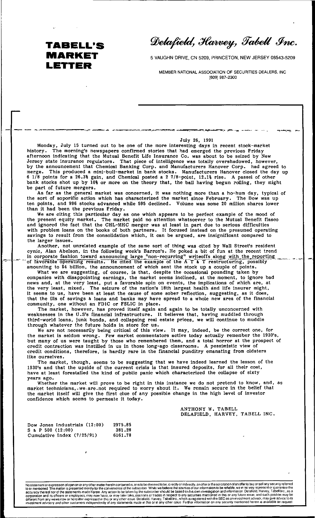 Tabell's Market Letter - July 26, 1991