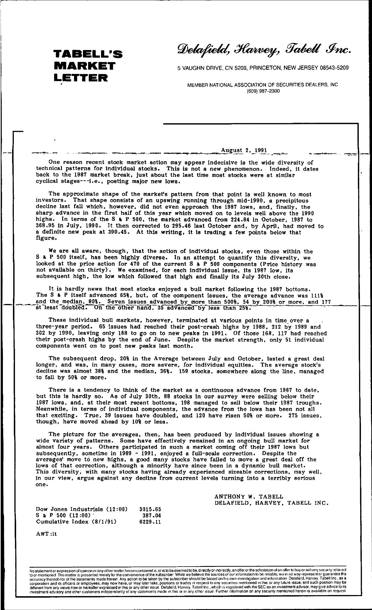 Tabell's Market Letter - August 02, 1991
