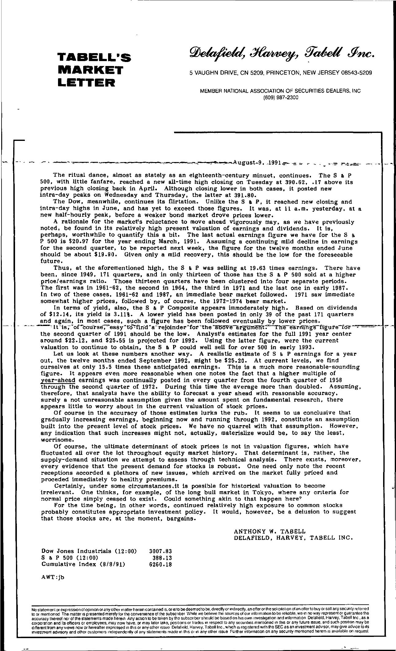 Tabell's Market Letter - August 09, 1991