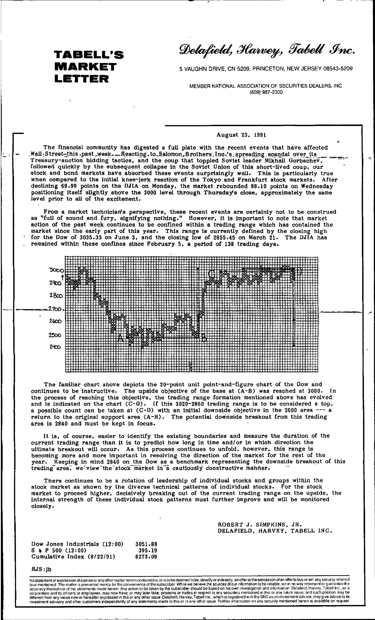 Tabell's Market Letter - August 23, 1991