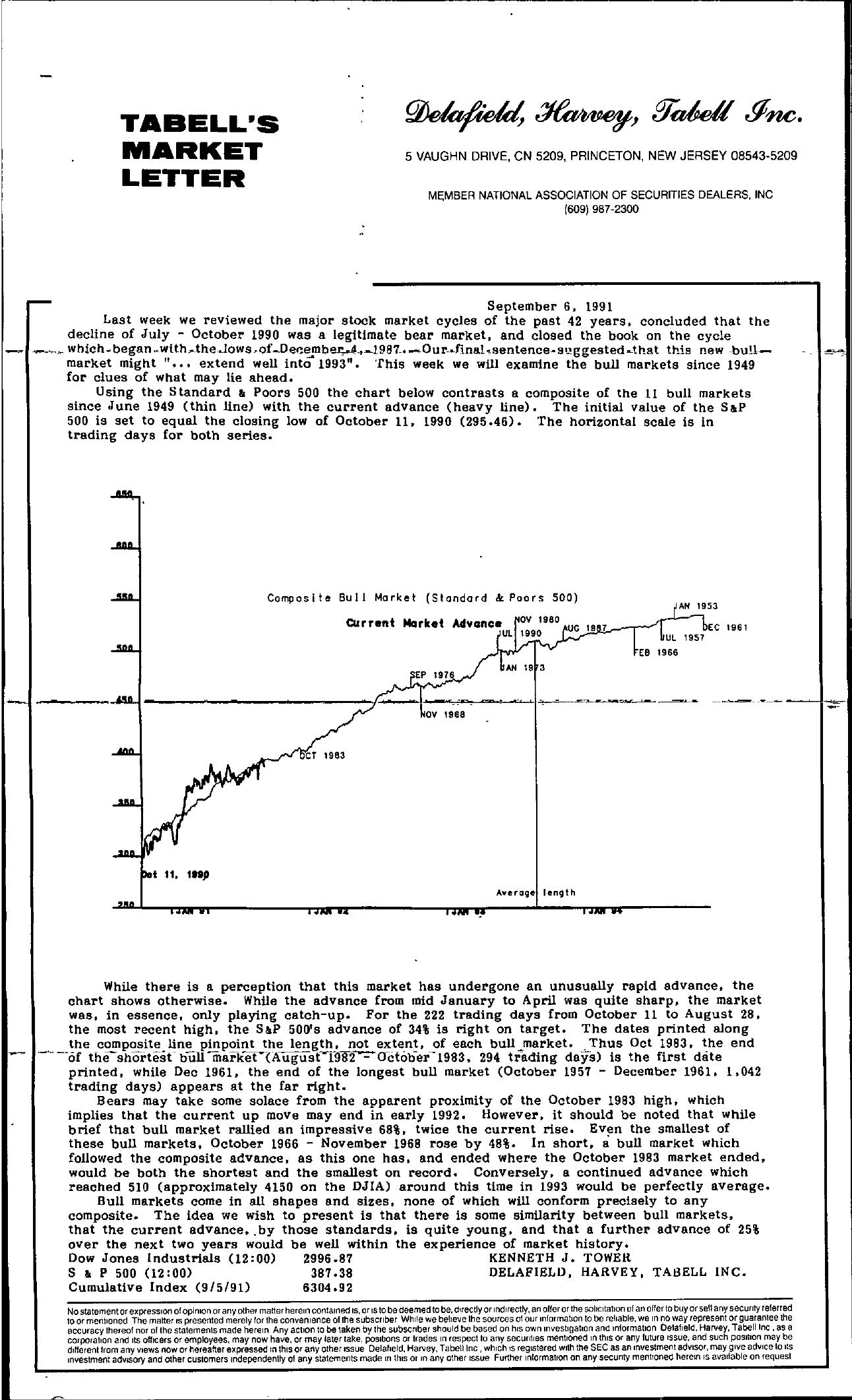 Tabell's Market Letter - September 06, 1991