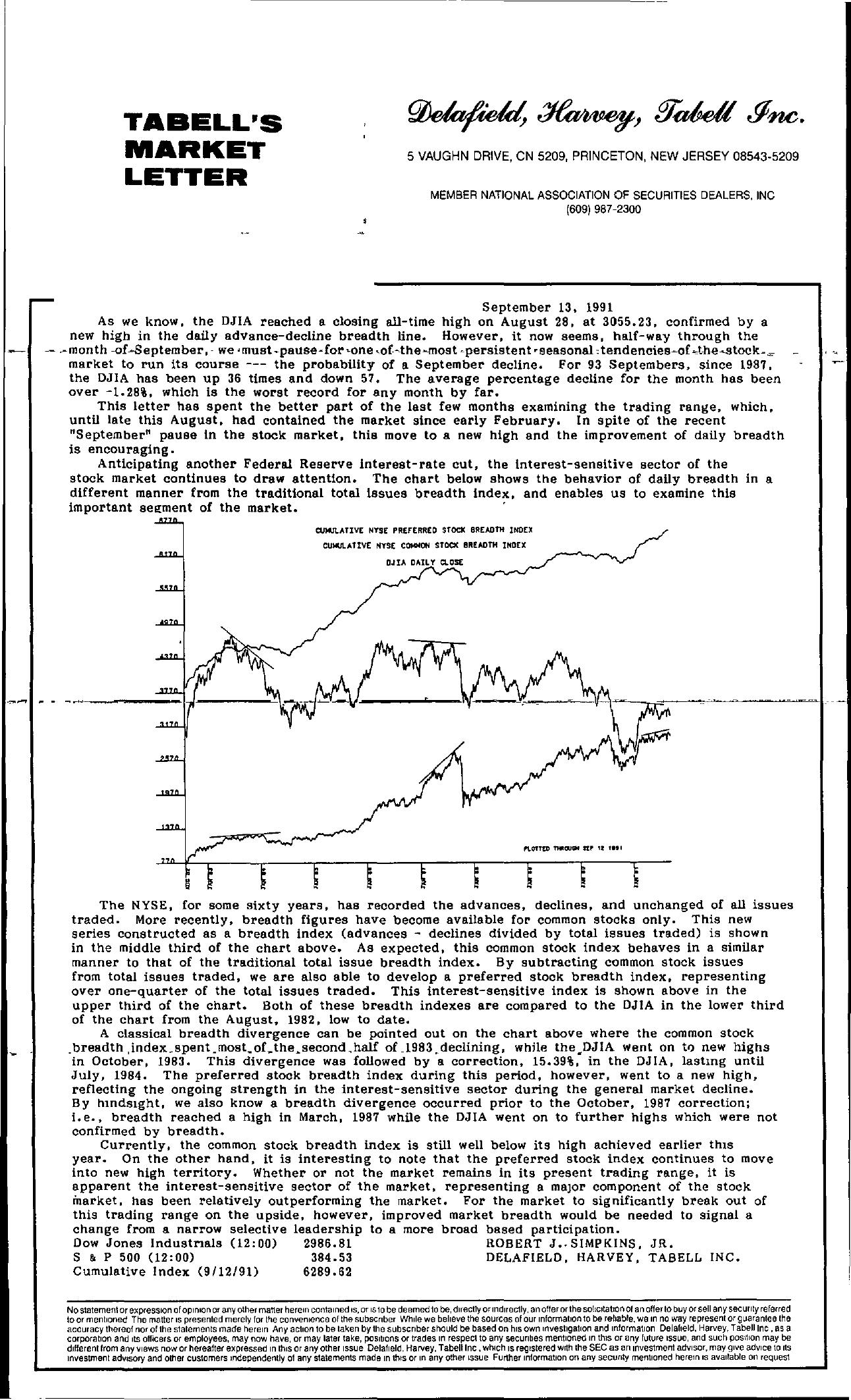 Tabell's Market Letter - September 13, 1991