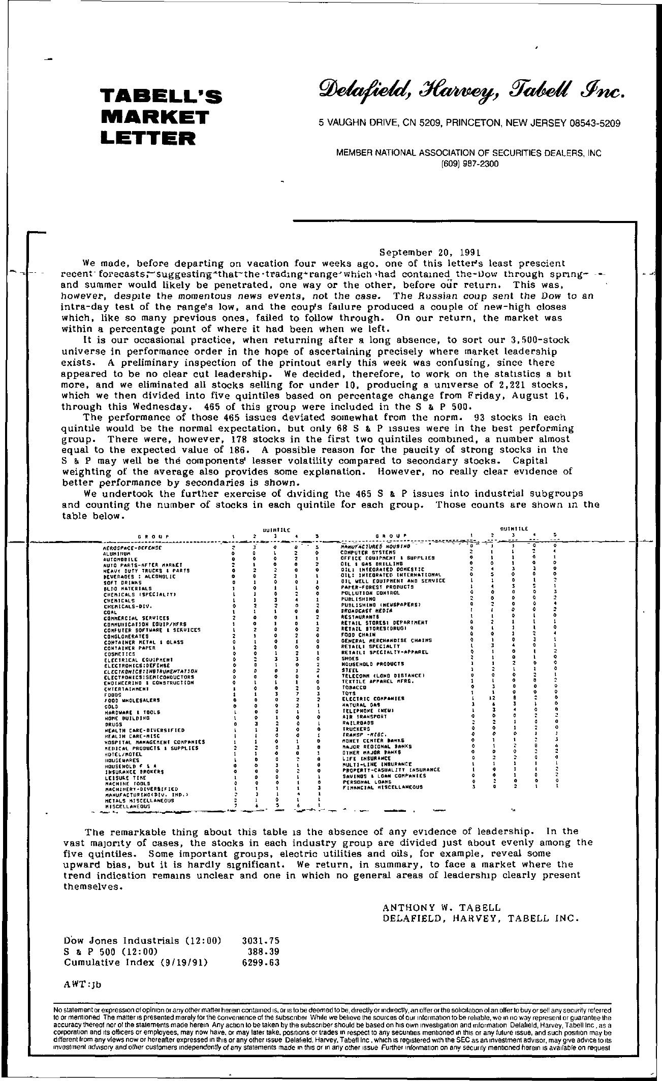 Tabell's Market Letter - September 20, 1991