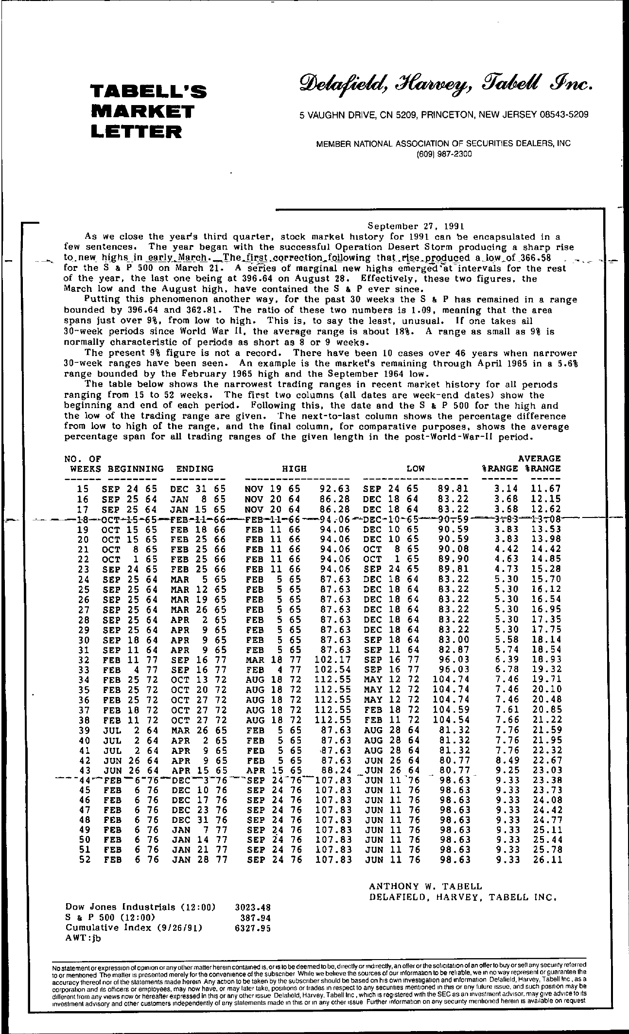 Tabell's Market Letter - September 27, 1991