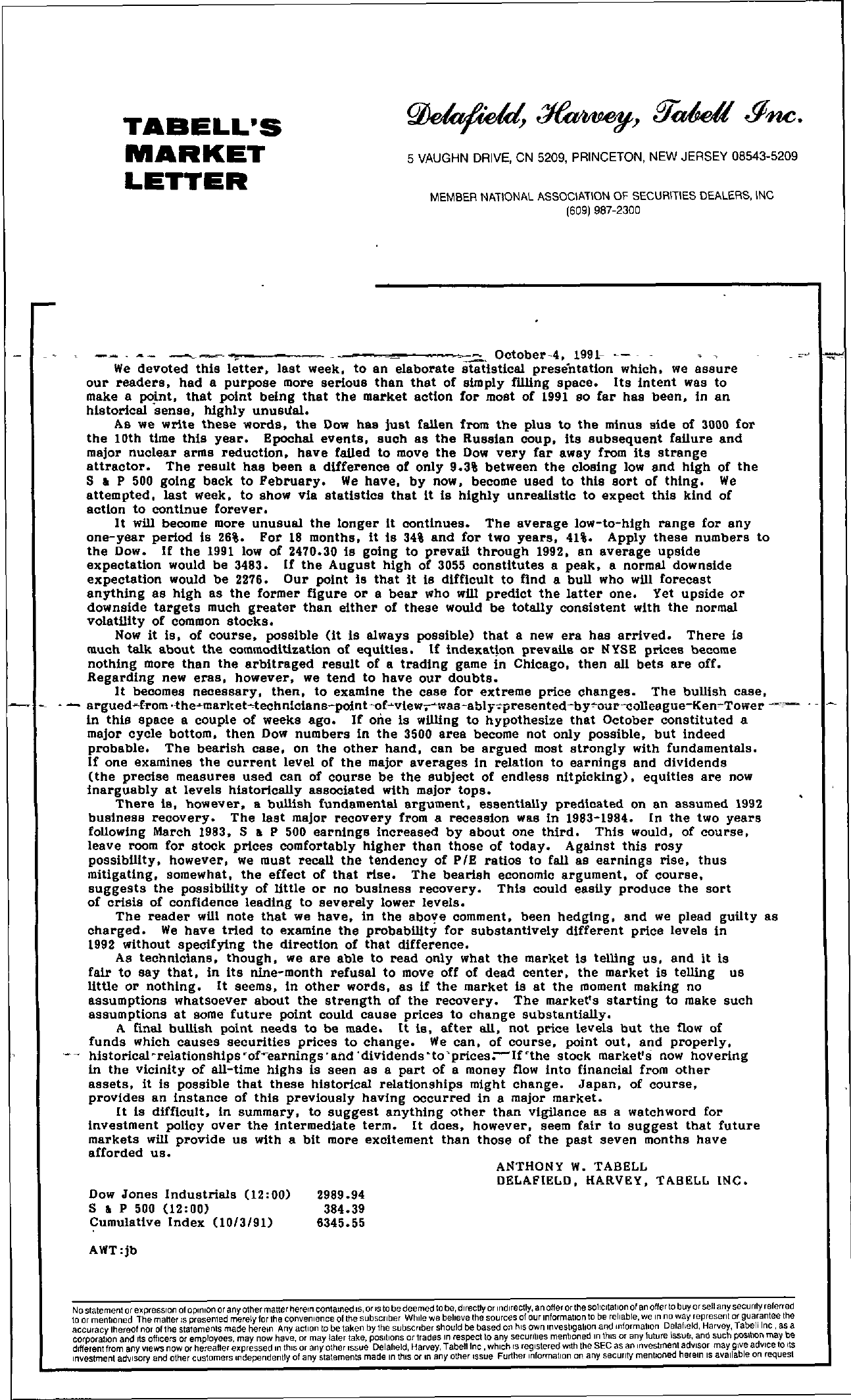 Tabell's Market Letter - October 04, 1991