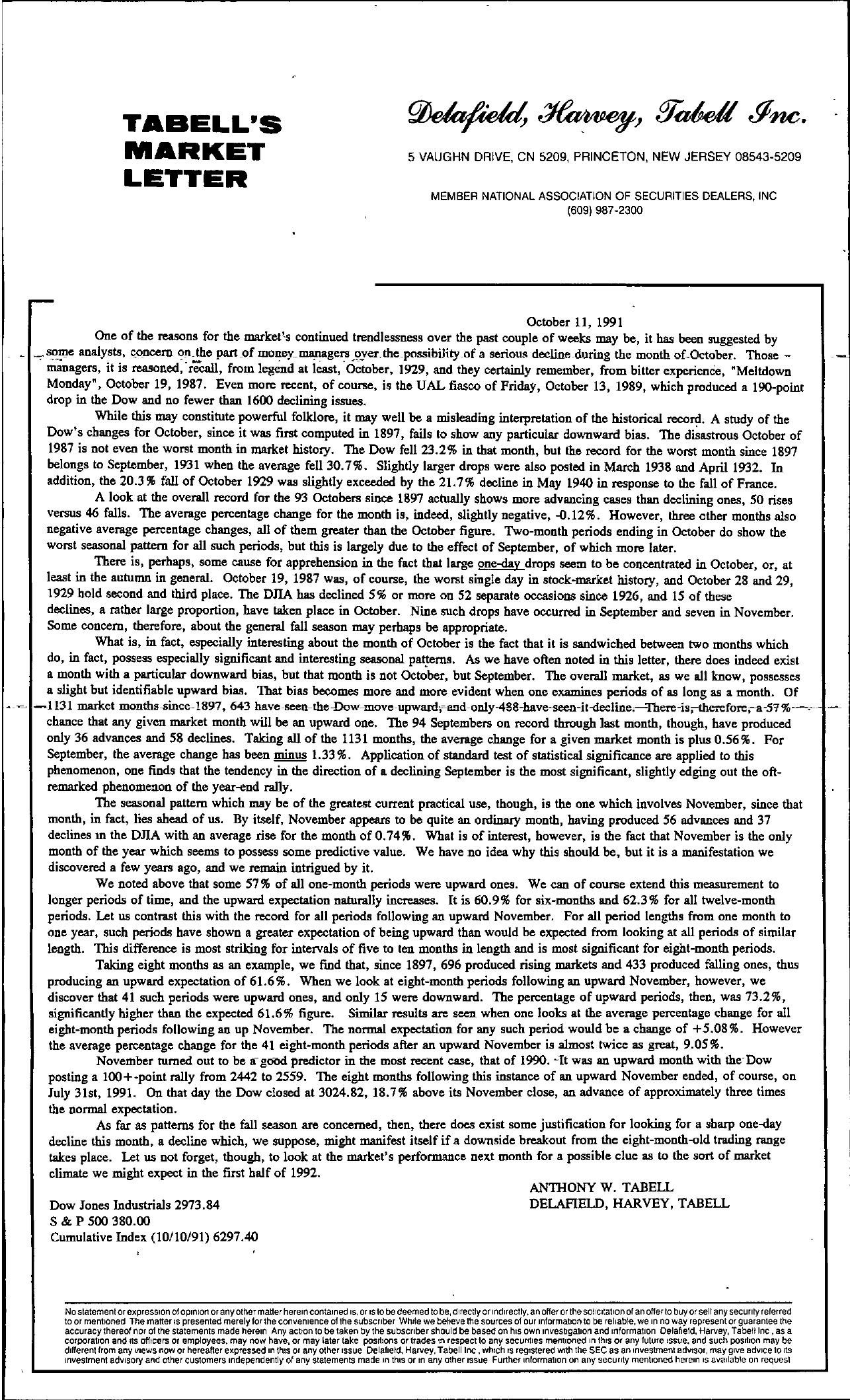 Tabell's Market Letter - October 11, 1991